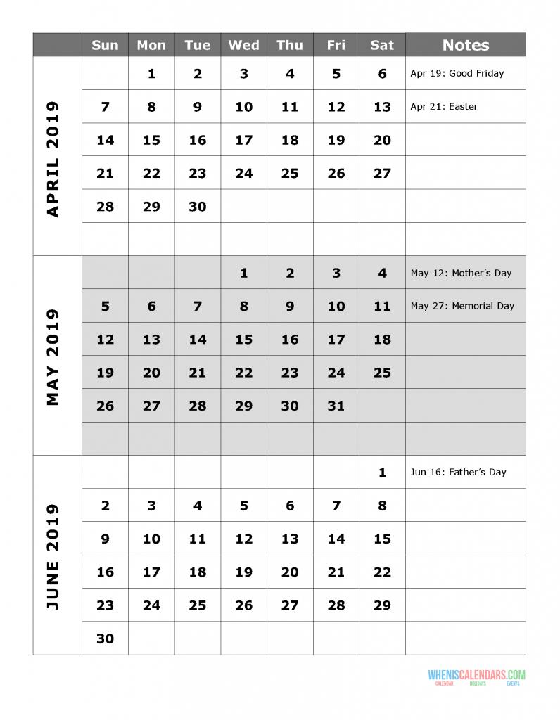2019 Quarterly Calendar Printable Q.2: April May June | Free 2/2019 Calendar