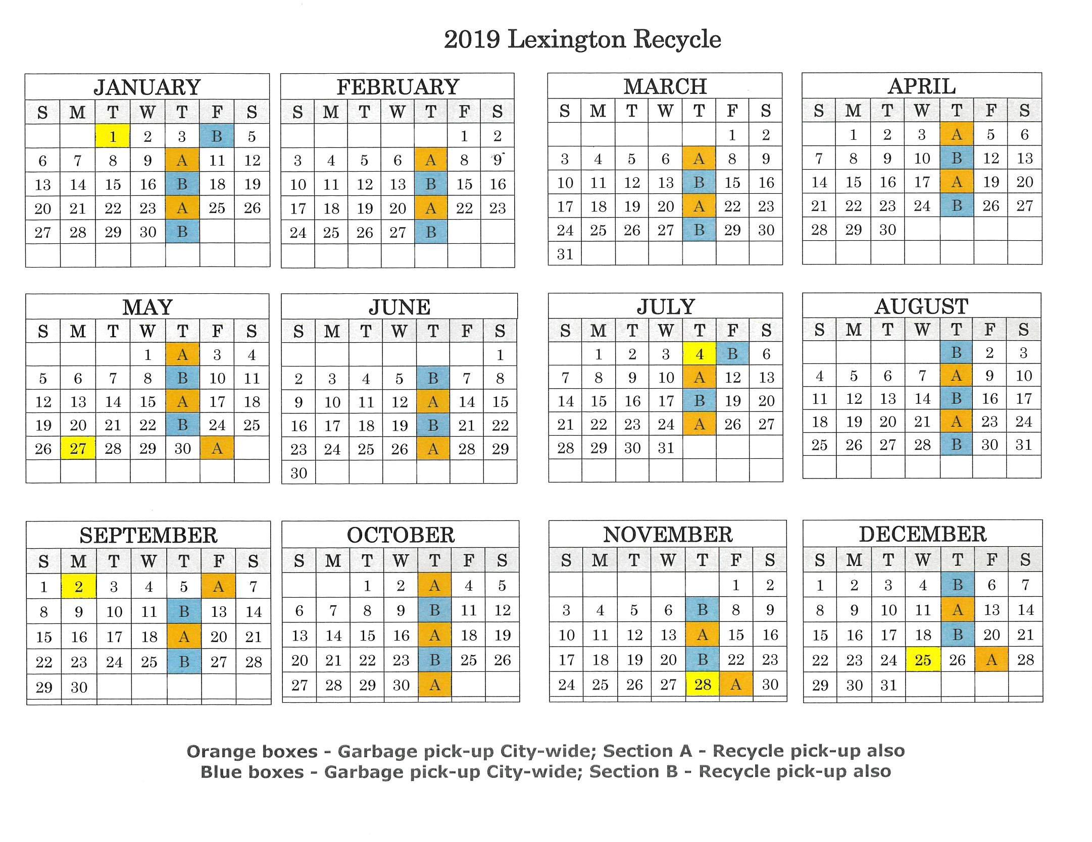 2019 Recycle Map & Calendar – City Of Lexington Lexington 1 Calendar 2019