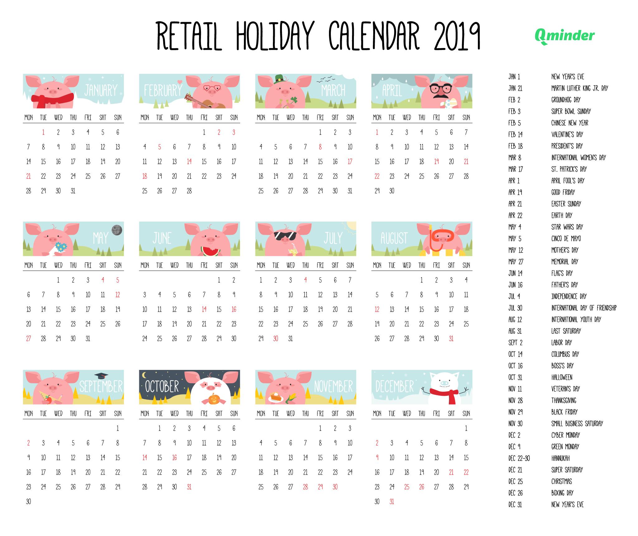 2019 Retail Holiday Calendar | Qminder Calendar 2019 All Holidays