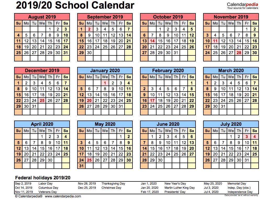 2019 School Calendar Printable | Academic 2019/2020 Templates Calendar 2019 Calendarpedia