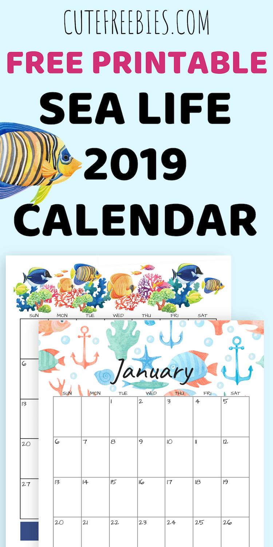 2019 Sea Themed Calendar Printables And More   – Free Printables Calendar 2019 Themes