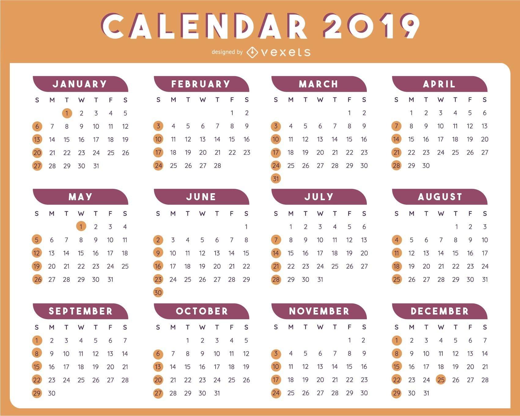 2019 Table Calendar Template Vector Design – Vector Download Calendar 2019 Table
