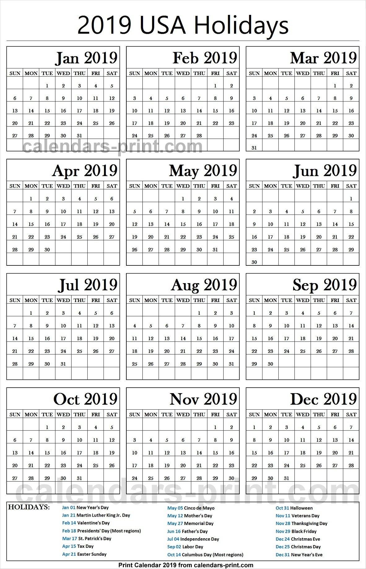 2019 Us Calendar With Federal Holidays   2019 Usa Calendar Calendar 2019 Federal Holidays