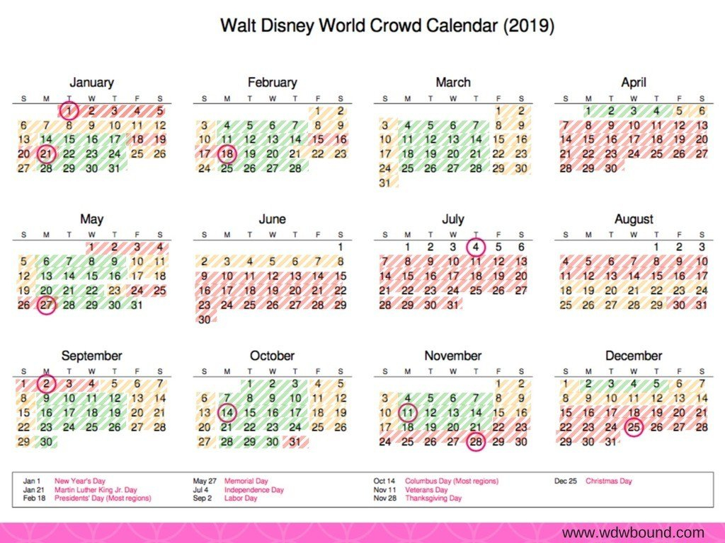 2019 Walt Disney World Crowd Calendar | Calendar 2019 Disney