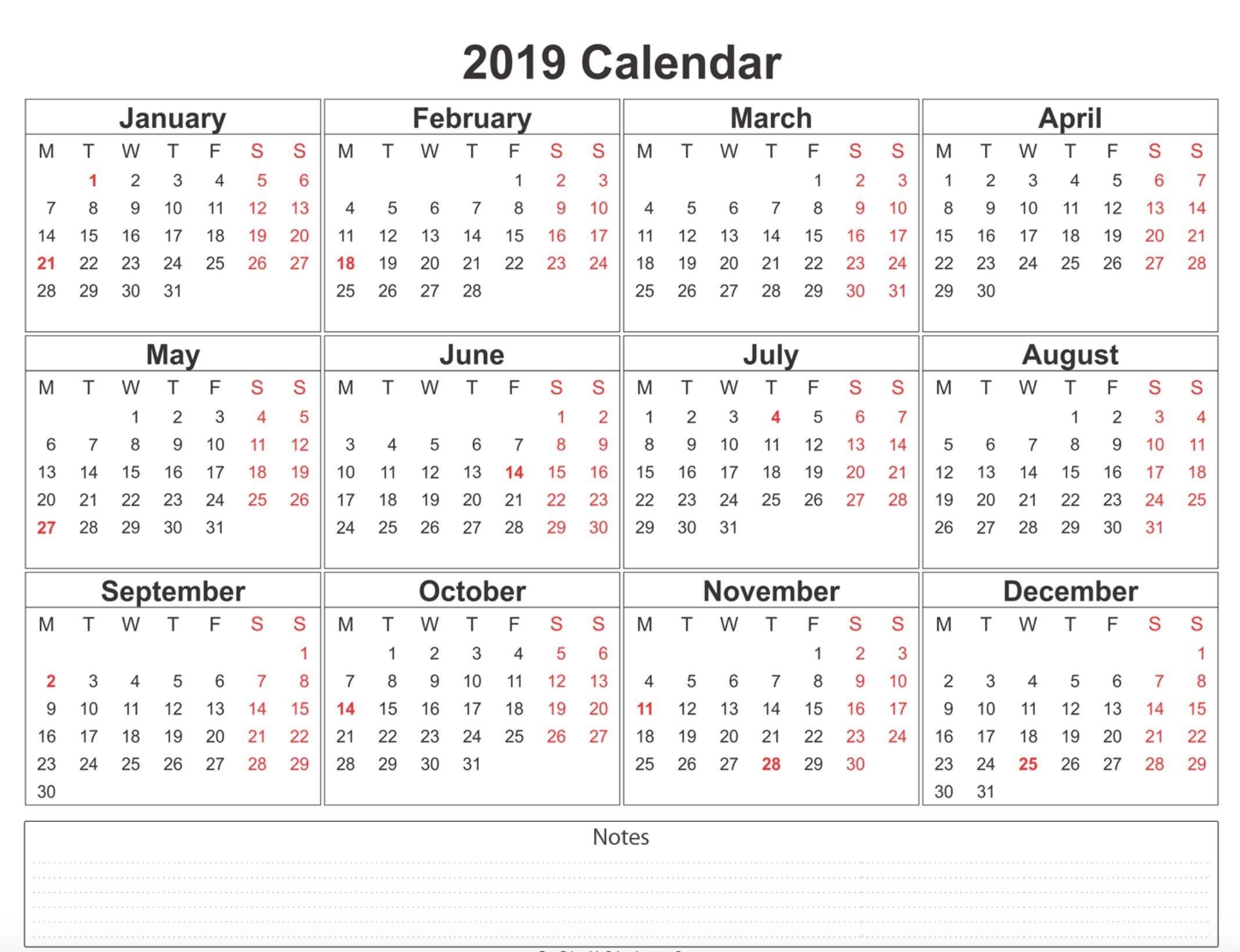 2019 Weekly Calendar Printable | 2019 Calendars | 12 Month Calendar Calendar 2019 With Holidays Usa Printable