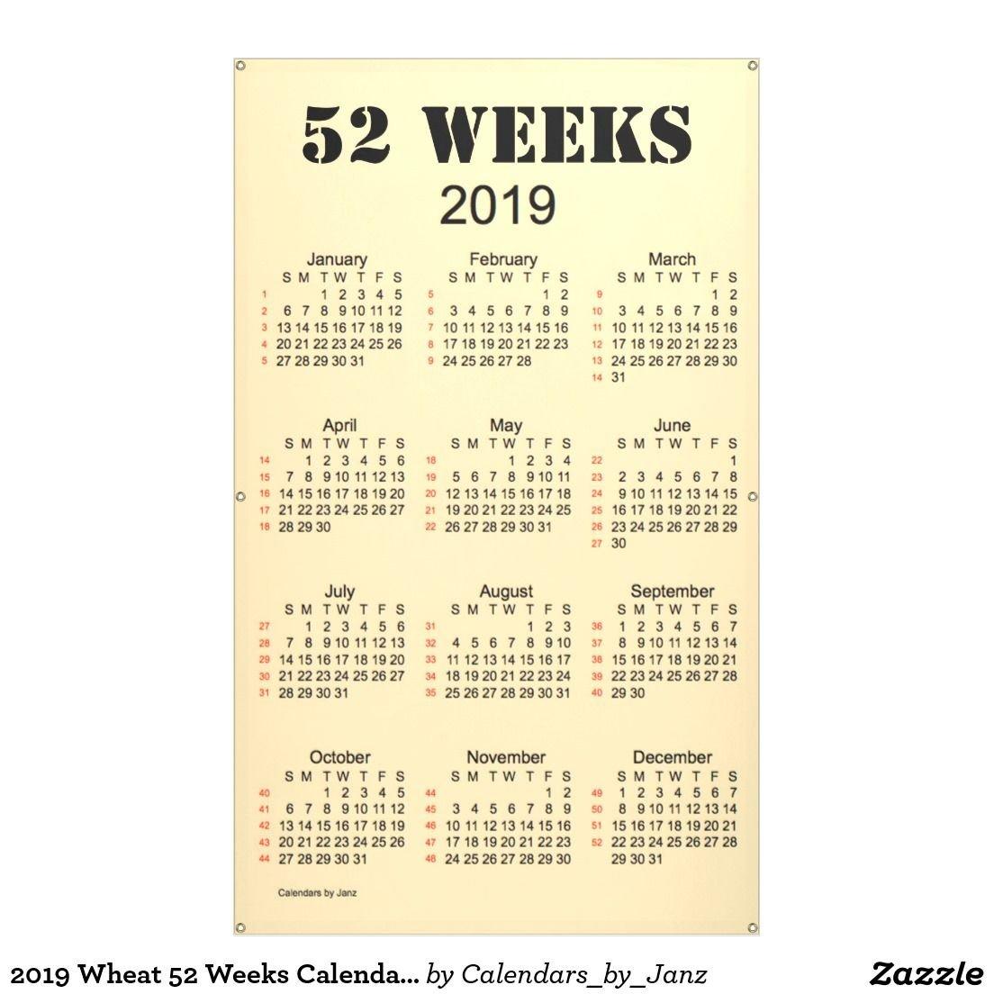 2019 Wheat 52 Weeks Calendarjanz Banner   Wholesale Merchandise 2019 Calendar 52 Weeks