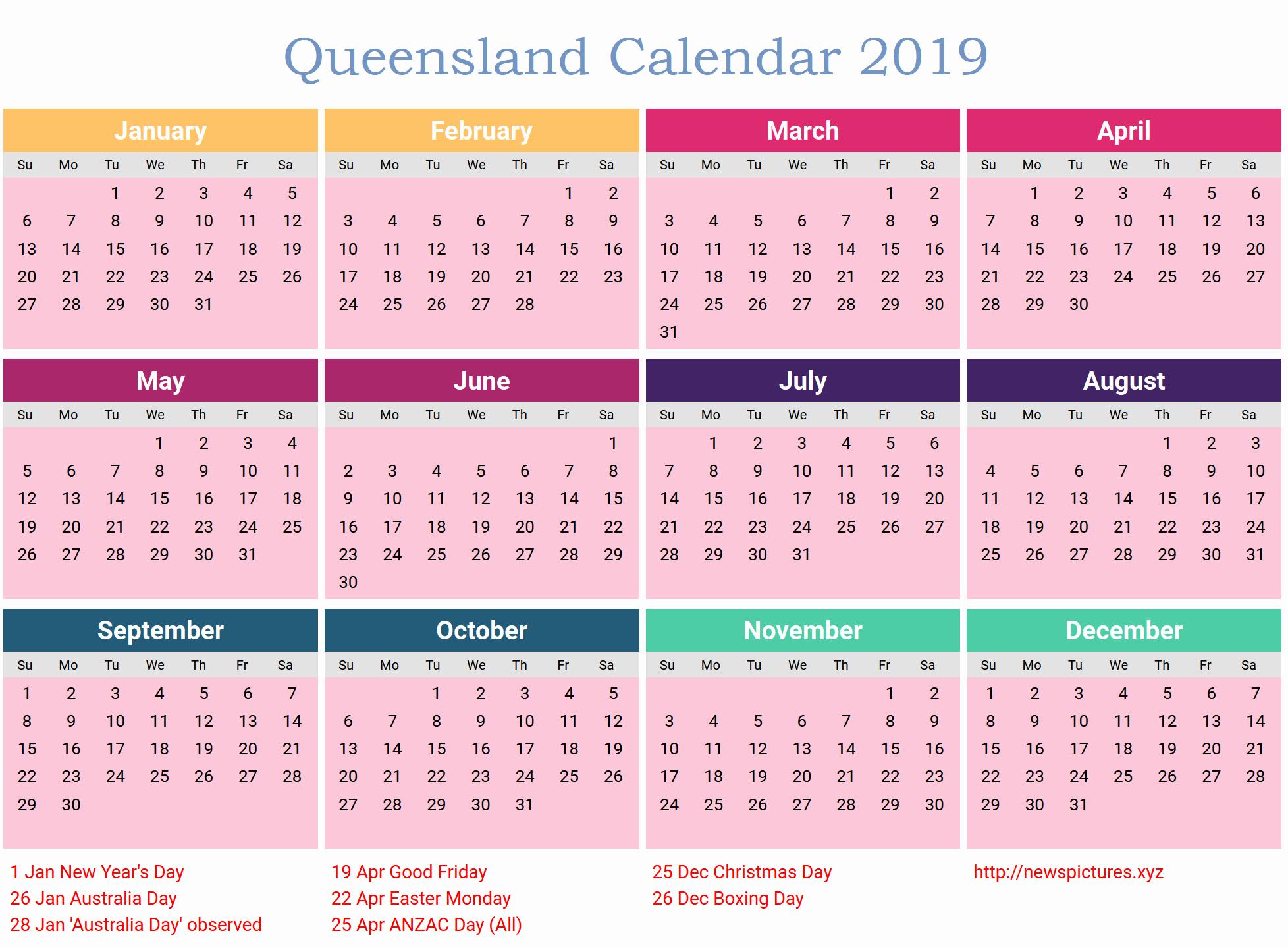 2019 Word Calendar With Holidays Unique Free Qld Calendar 2019 Calendar 2019 Qld Pdf