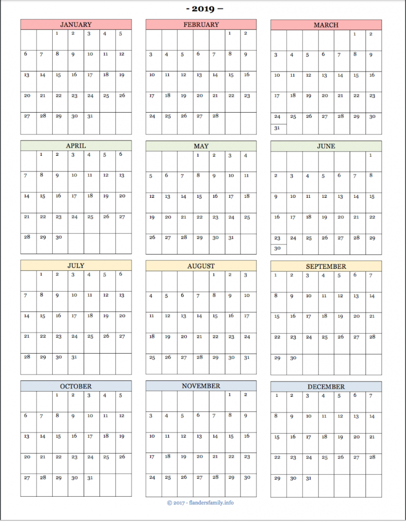 2019 Year At A  Glance Calendars And Habit Trackers – Flanders Calendar 2019 At A Glance