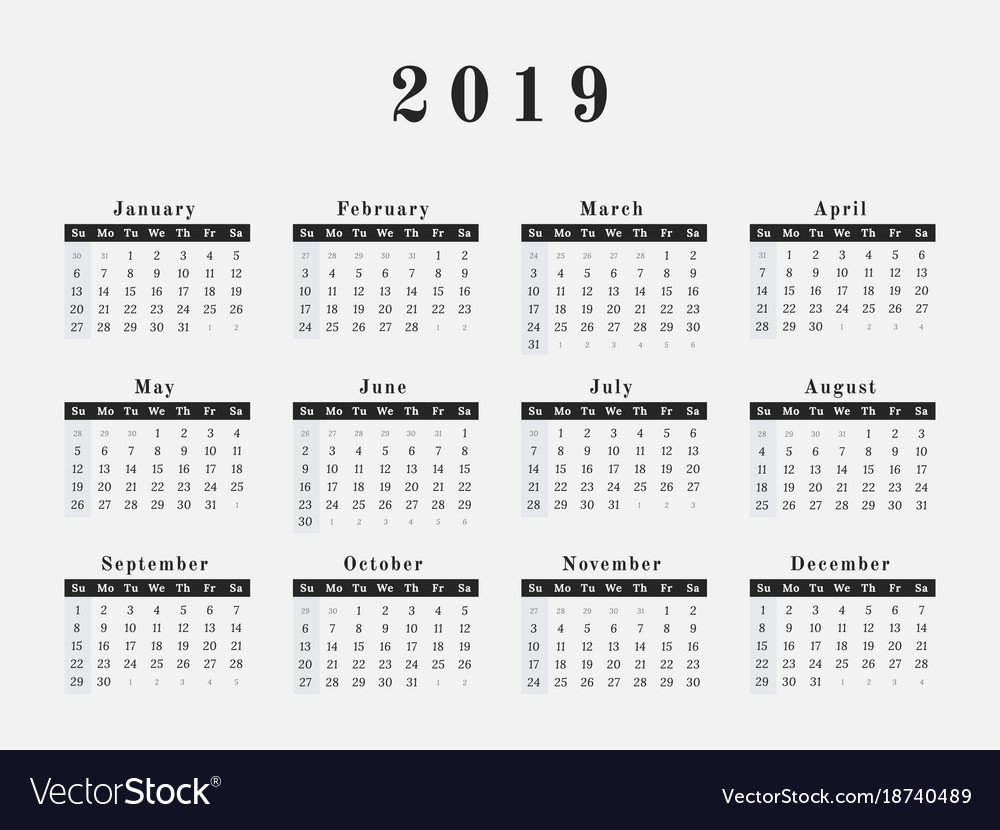 2019 Year Calendar Horizontal Design Royalty Free Vector Calendar 2019 Vector