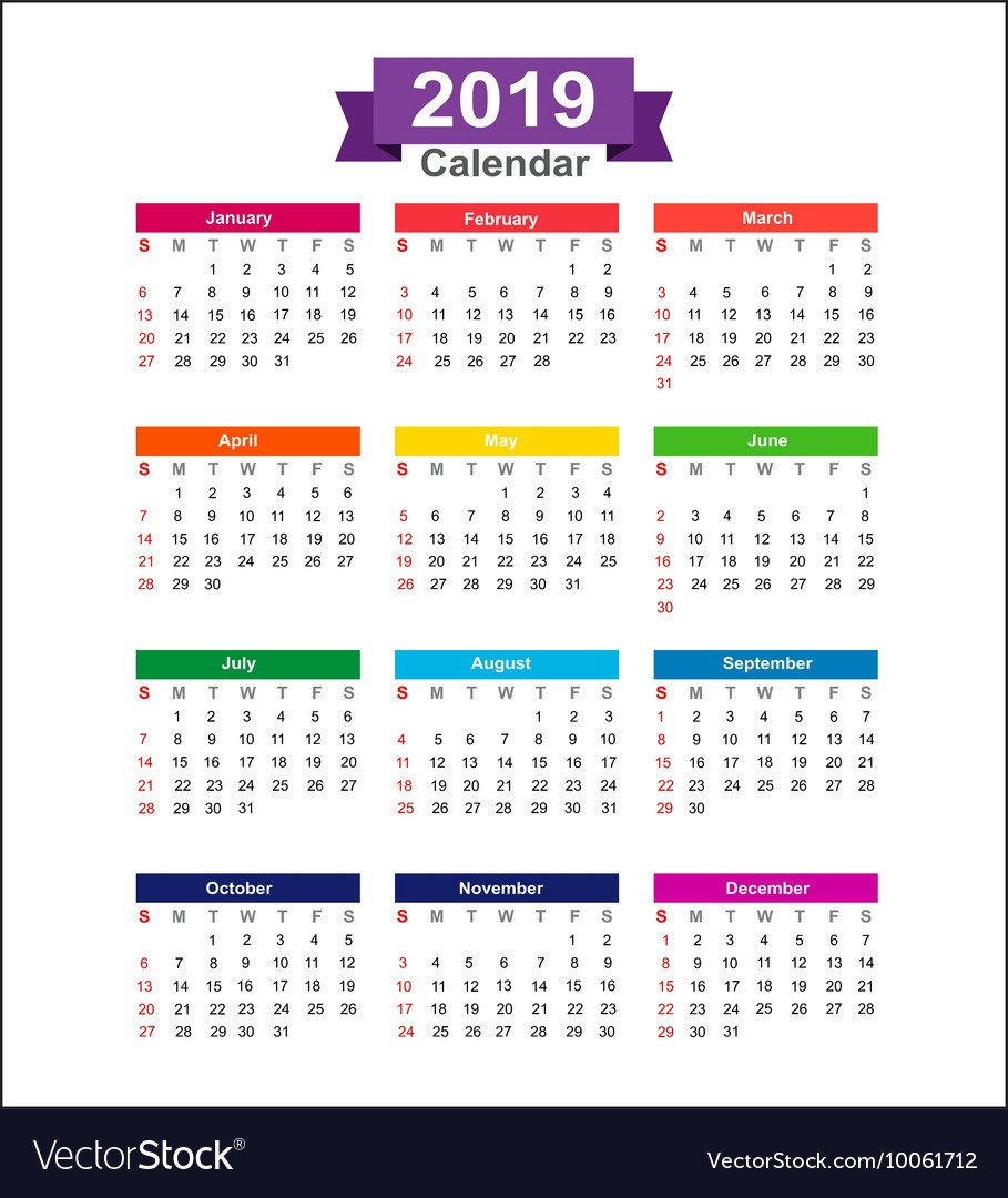 2019 Year Calendar Isolated On White Background Vector Image Calendar 2019 Background