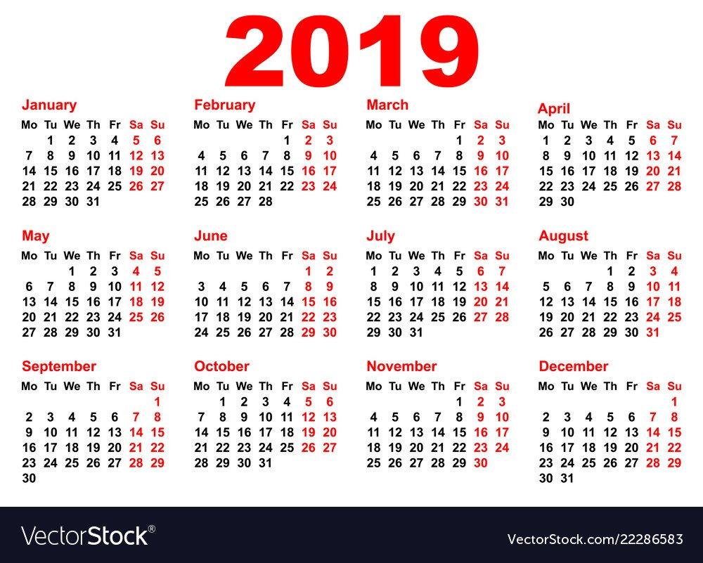 2019 Year Calendar Template Grid Pocket Horizontal Calendar 2019 Grid