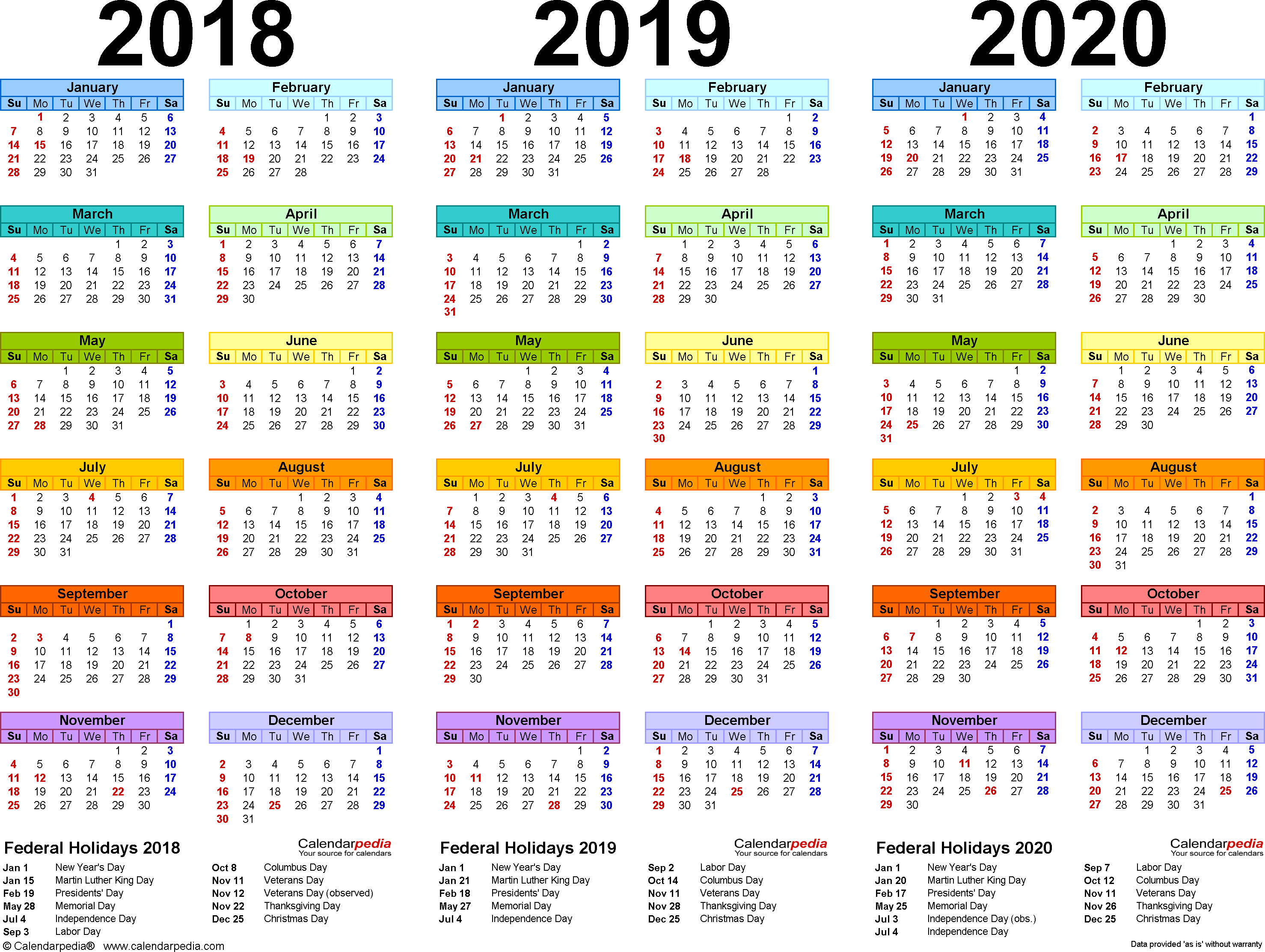 2019 Yearly Calendar – Free Download | Printables | Printable 2 Year Pocket Calendar 2019 And 2020