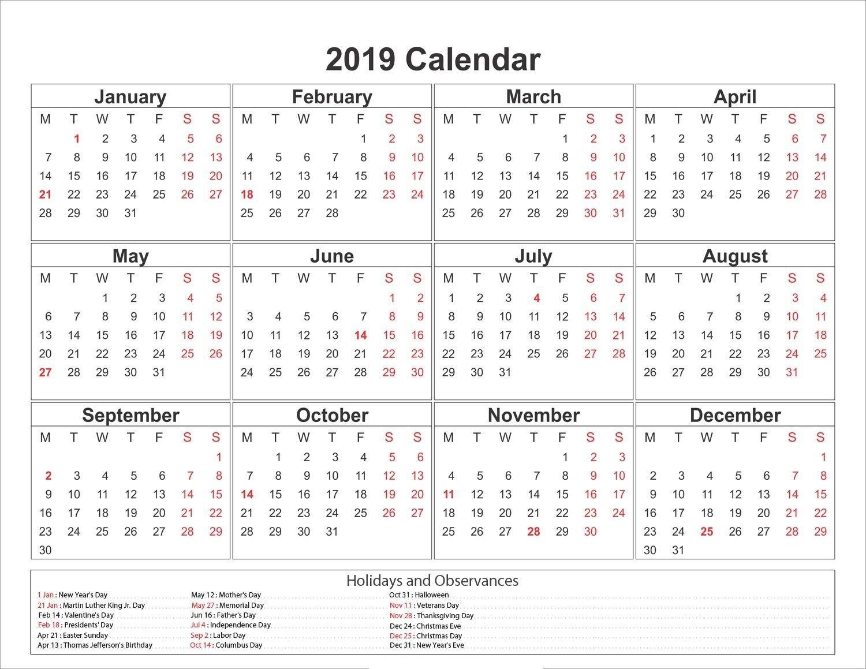 2019 Yearly Calendar Printable #2019Calendar #holidayscalendar Calendar 2019 Martin Luther King