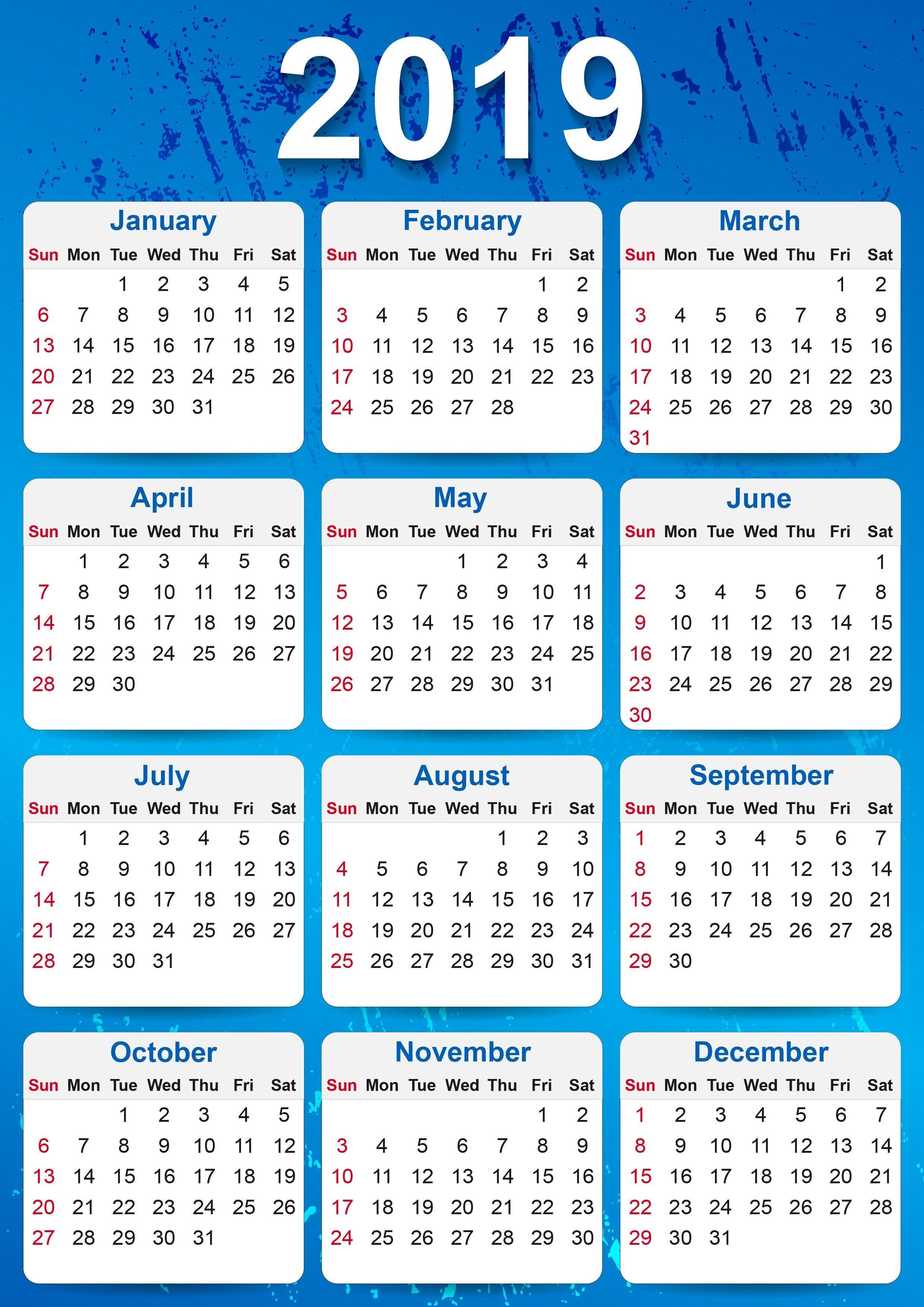 2019 Yearly Calendar Printable   Calendar   2019 Yearly Calendar Calendar 2019 Pdf Free Download