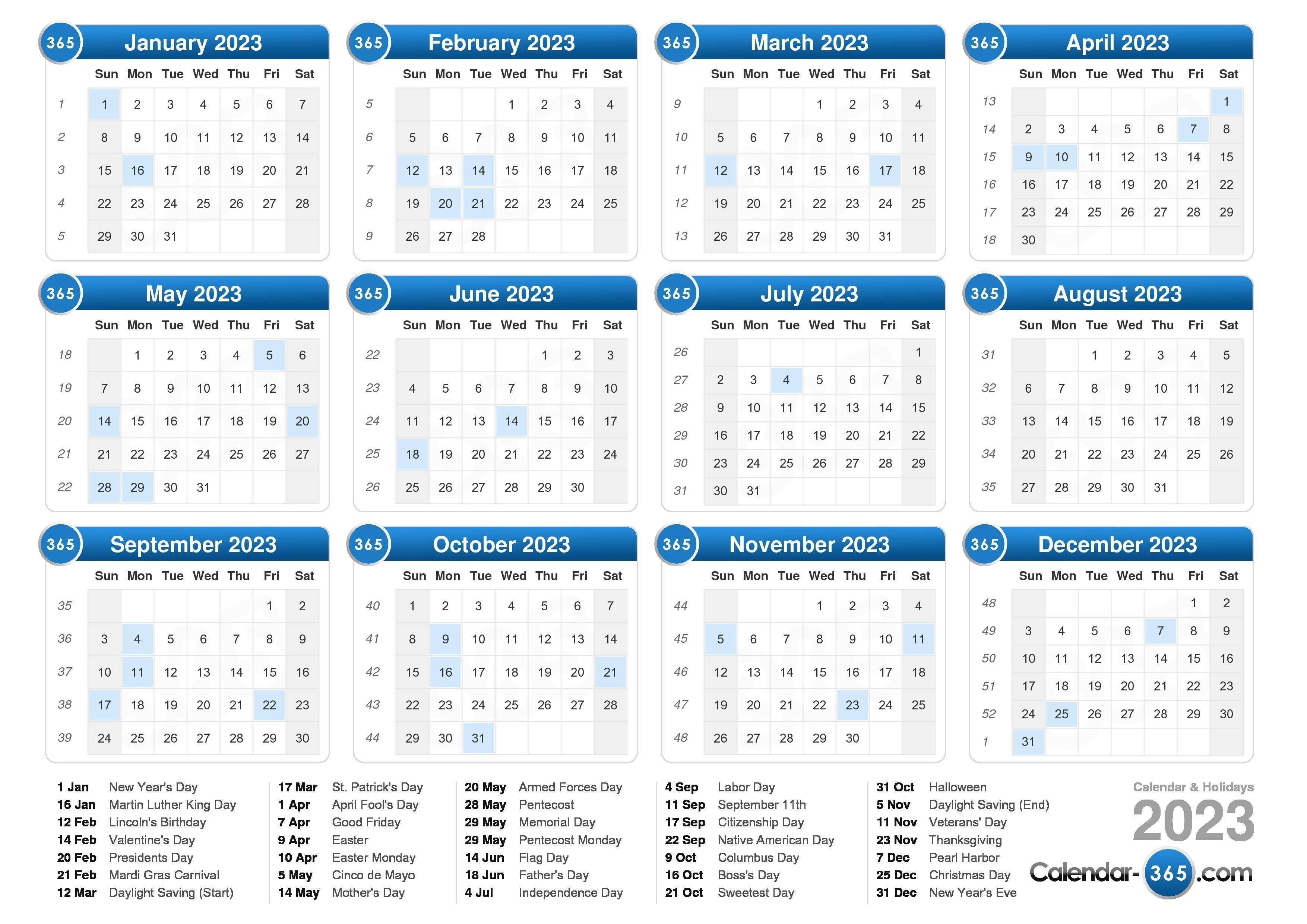 2023 Calendar 5 Year Calendar 2019 To 2023 Printable