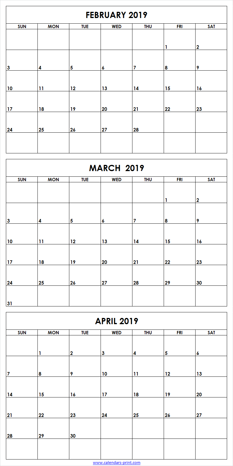 3 Month February To April 2019 Calendar Template   February 2019 3 Month Calendar 2019