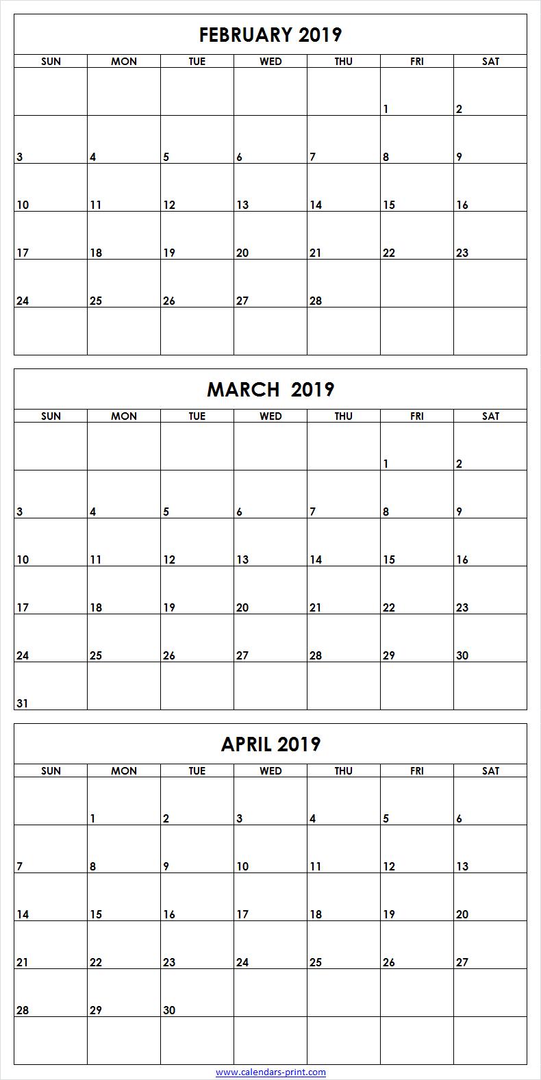 3 Month February To April 2019 Calendar Template   February 2019 Calendar 2019 3 Months