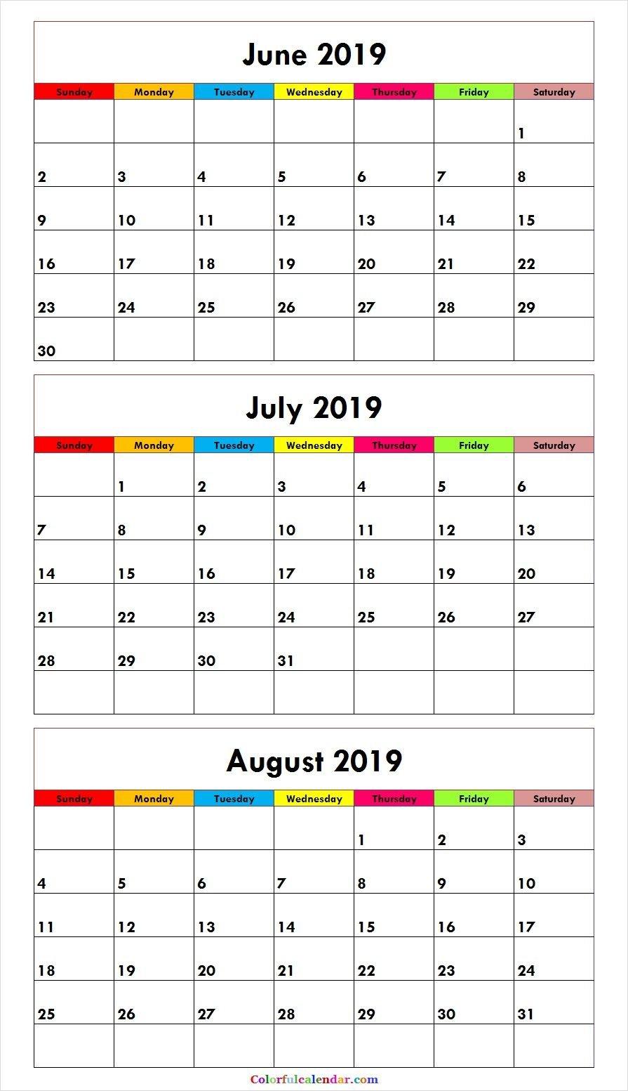 3 Month June July August 2019 Calendar Green   Misc. Stuff   August July 3 2019 Calendar