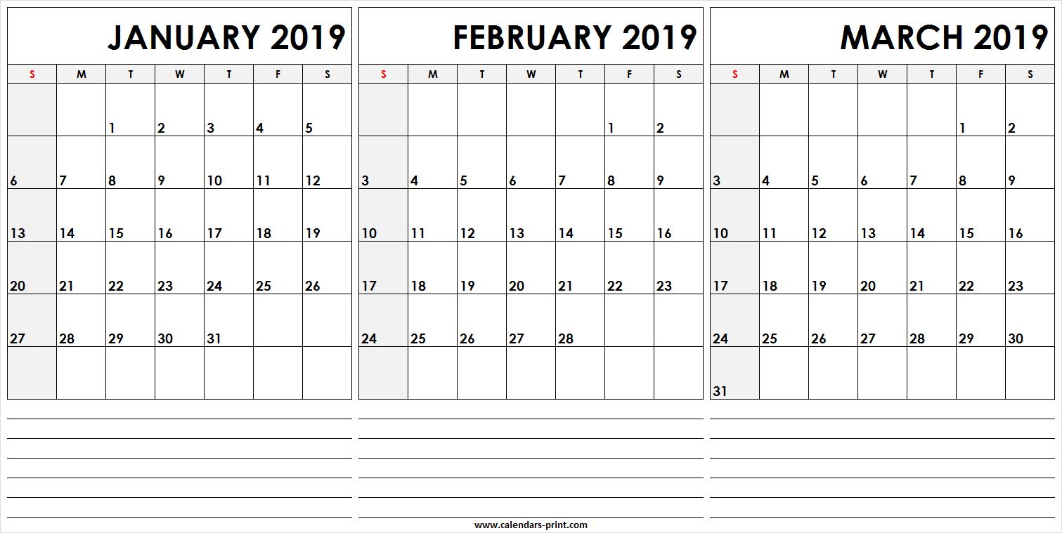 3 Monthly January February March 2019 Calendar   Editable Template Calendar 2019 Jan Feb March