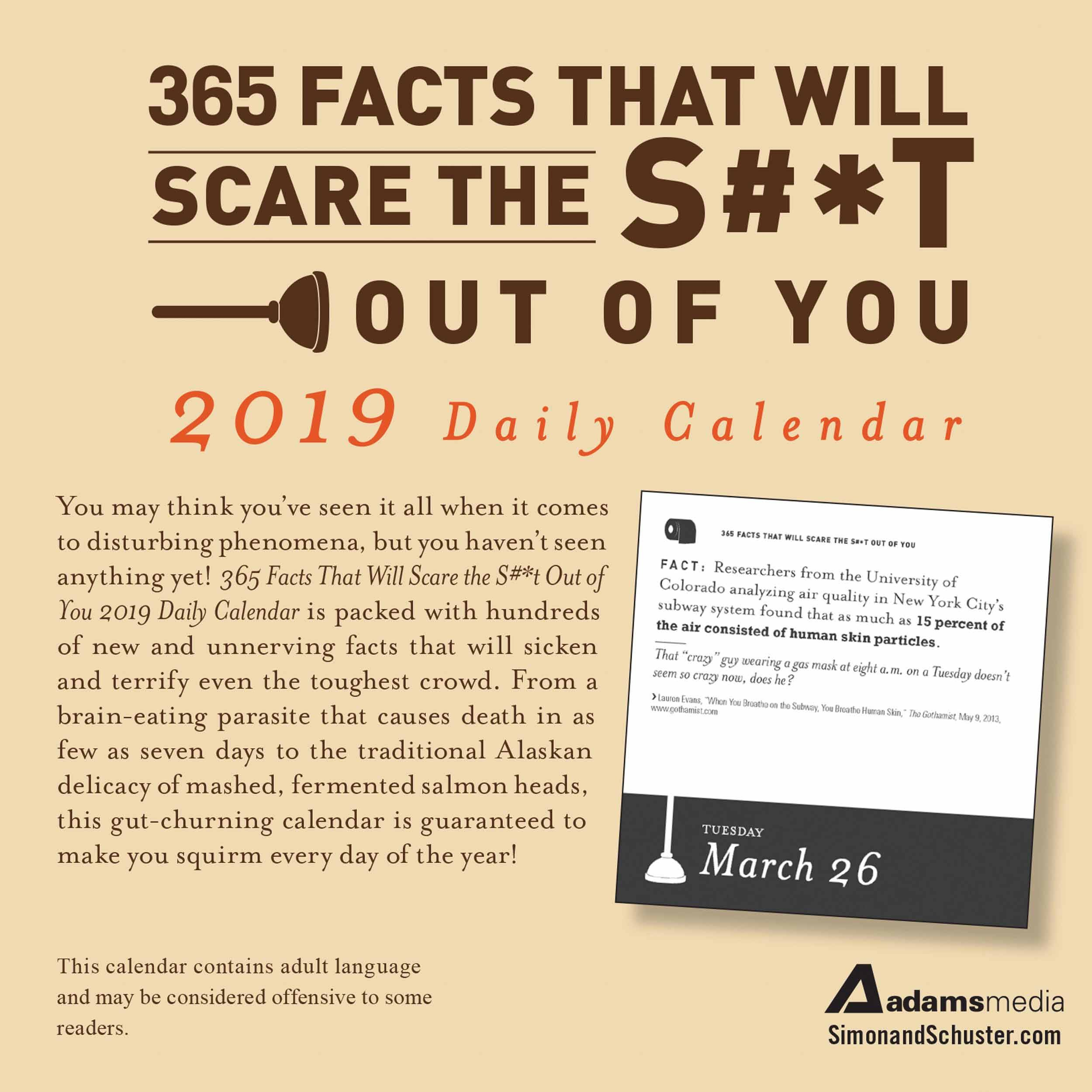 365 More Facts That Will Scare The S#*t Out Of You Desk Calendar U Of T Calendar 2019