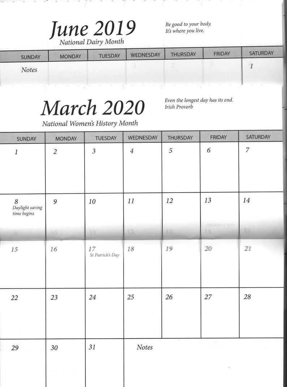 5 Pocket Calendar 2 Year 2019 2020 Insert Only | Etsy 2 Year Pocket Calendar 2019 And 2020