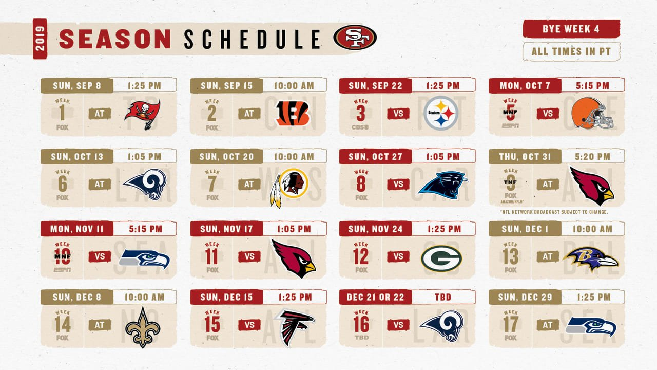 8 Observations From The 49Ers 2019 Regular Season Schedule 49Ers Calendar 2019