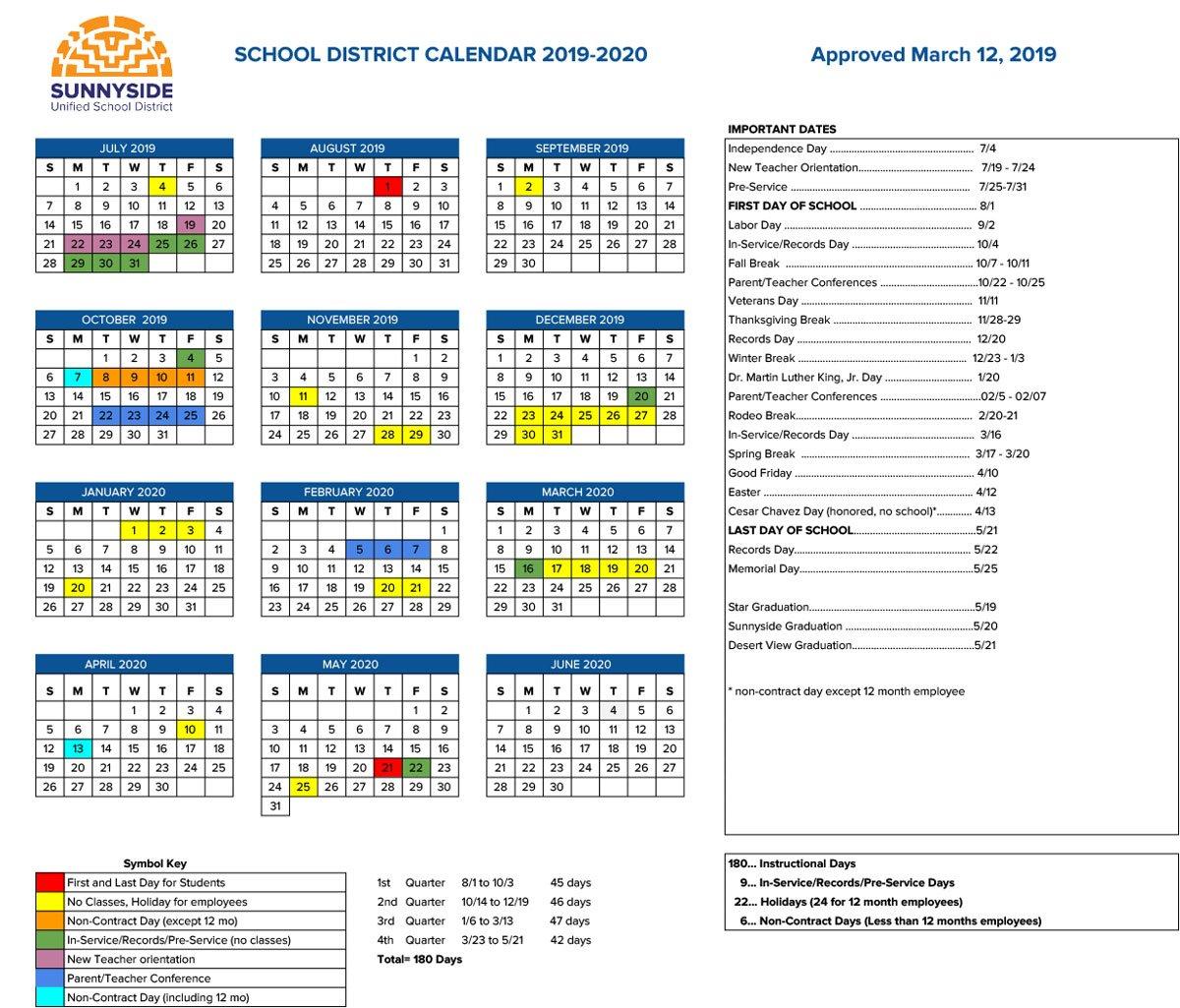 Academic Calendar | Sunnyside Unified School District School District 2 Calendar 2019