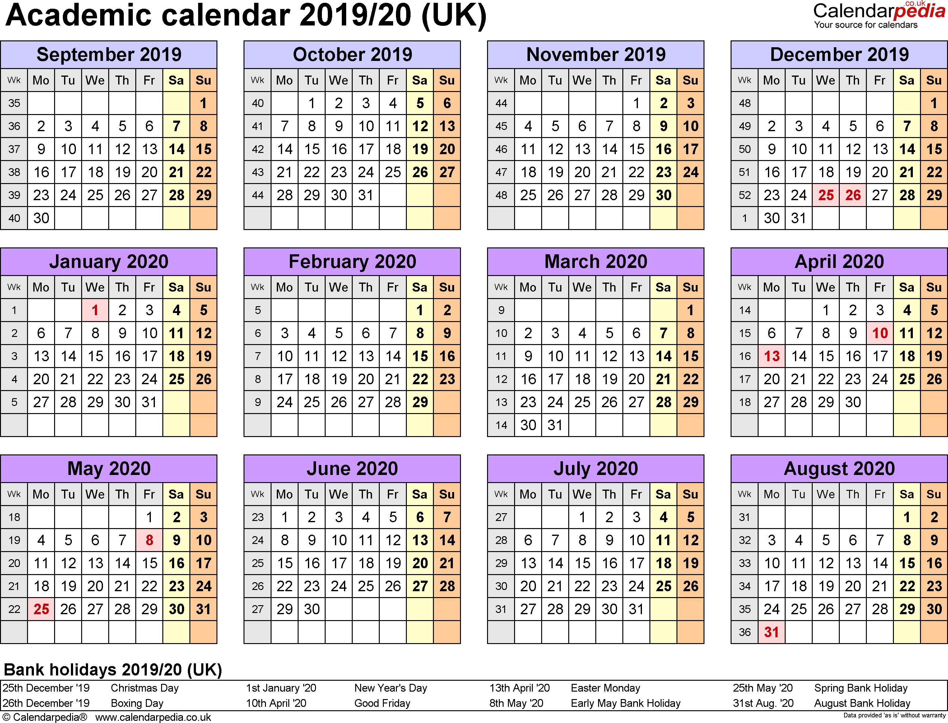 Academic Calendars 2019/2020 As Free Printable Word Templates U Of L Calendar 2019