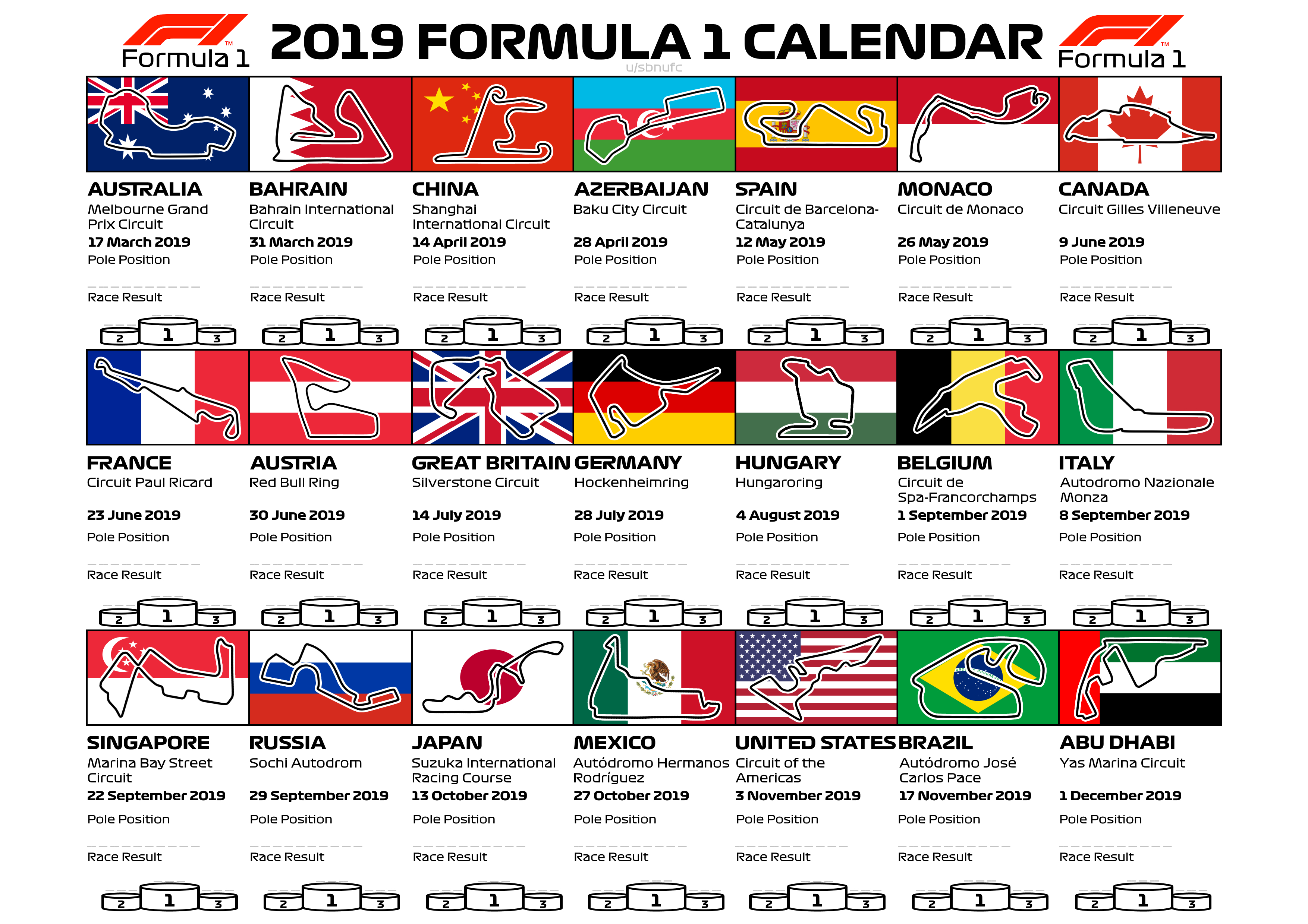 After Making A Calendar For The 2017 And 2018 Seasons, I Had Calendar 2019 Formula 1