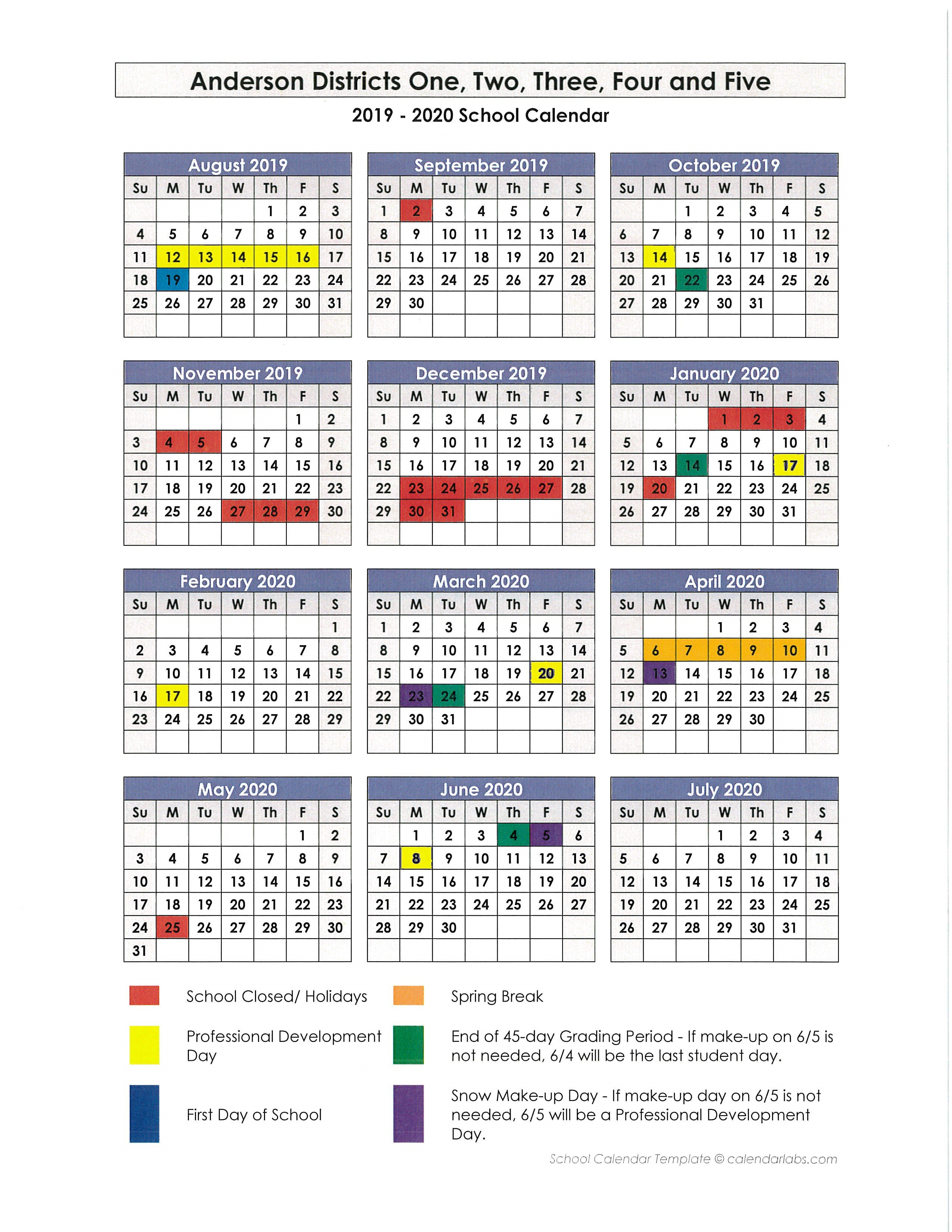 Anderson School District 1 Calendar 2019 And 2020 – Publicholidays School District 2 Calendar 2019