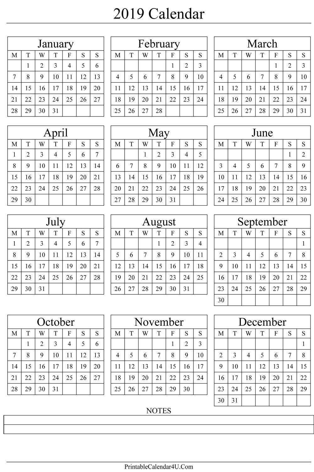 Annual Calendar 2019 Portrait Printable Calendar 2017 2018 2019 Calendar 2019 Printable