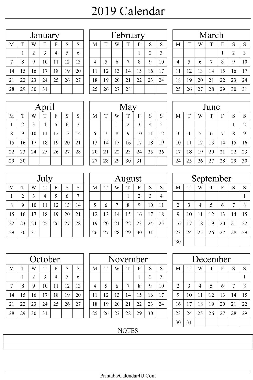 Annual Calendar 2019 Portrait Printable Calendar 2017 | Gift Ideas Calendar 2019 Year Printable