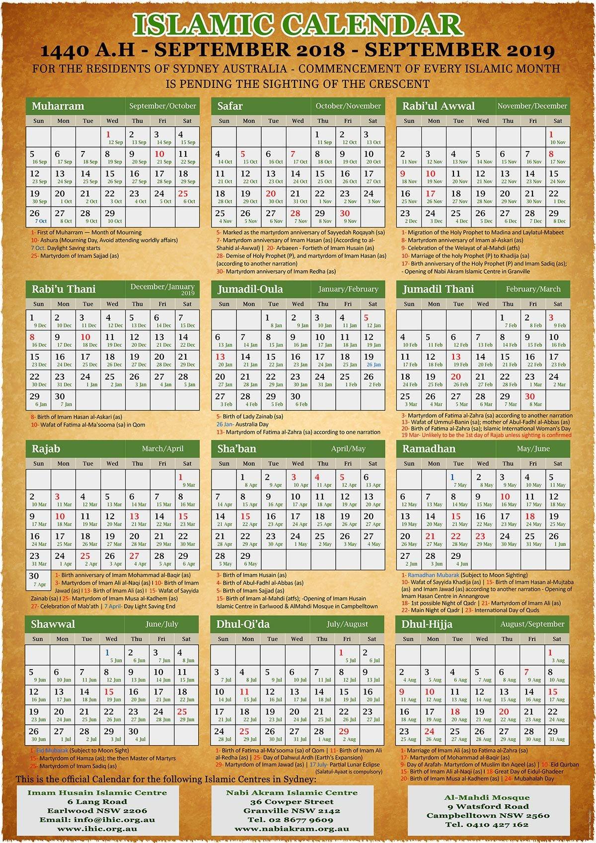 Annual Islamic Calendar 1440 A.h. (2019) – Imam Husain Islamic Centre Calendar 2019 Hijri