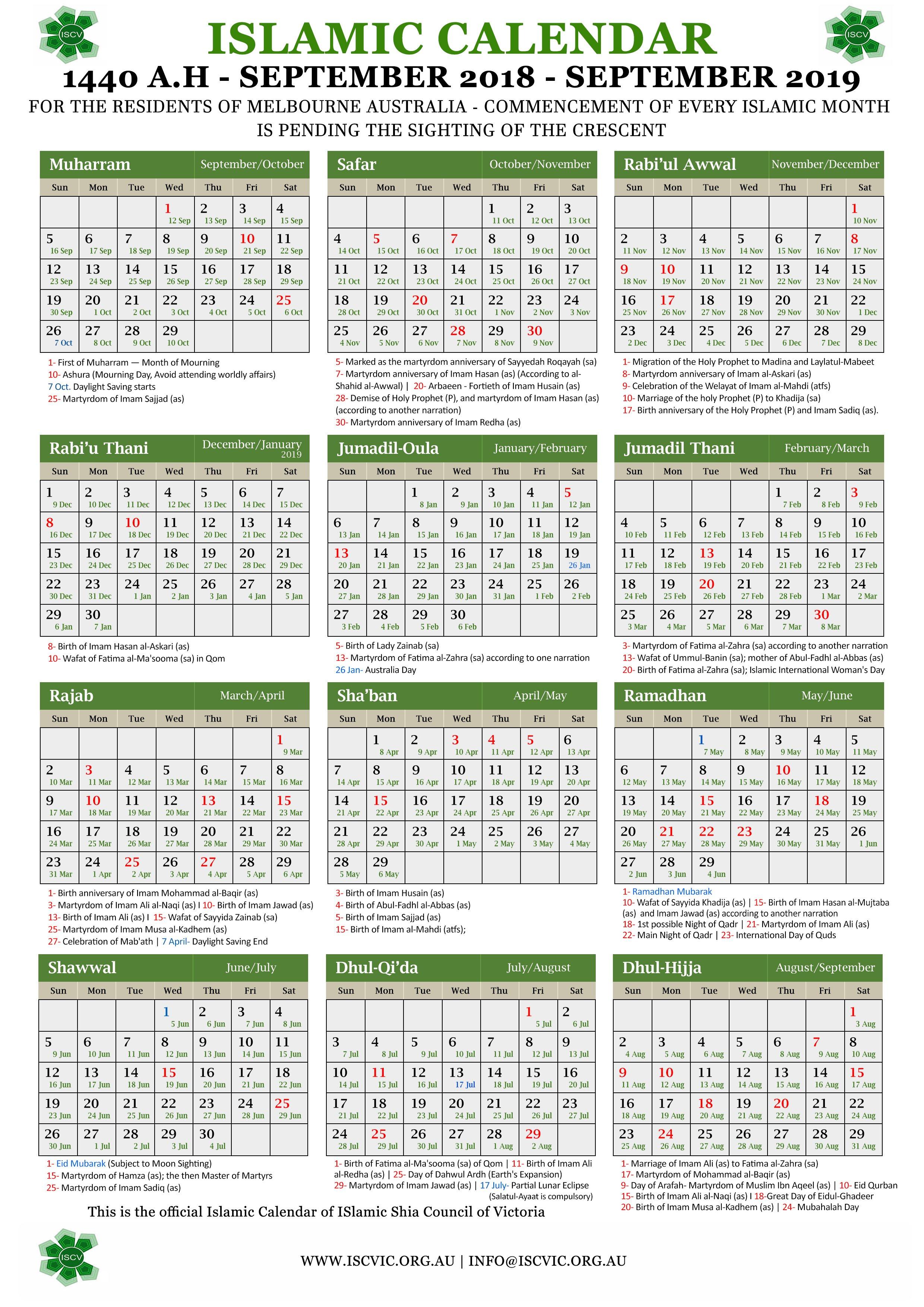 Annual Islamic Calendar 1440 A.h. (2019) – Islamic Shia Council Of Calendar 2019 Hijri