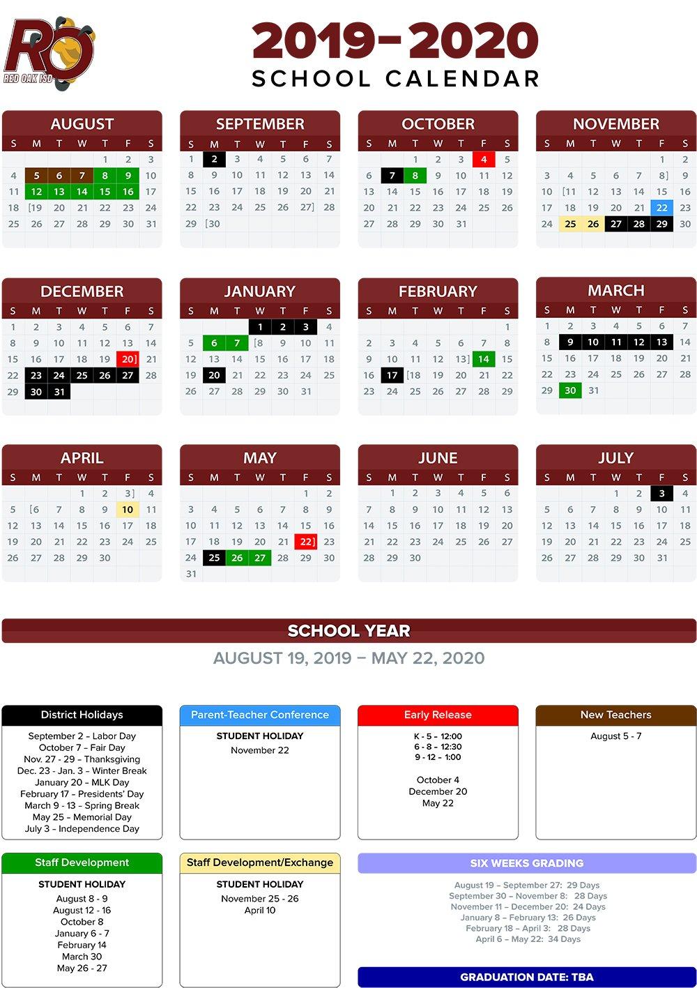 Annual School Calendar / 2019 20 Annual Calendars School District 2 Calendar 2019