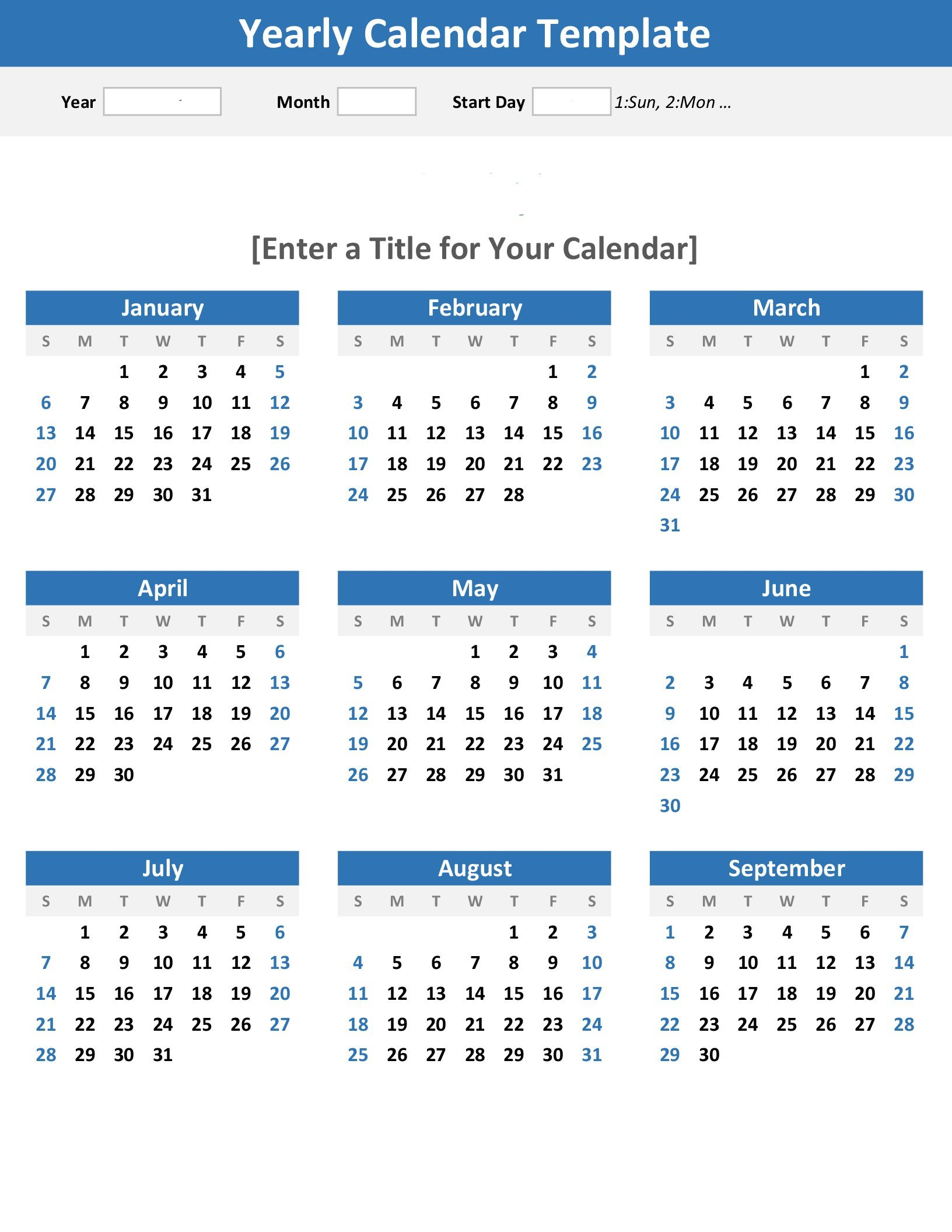 Any Year At A Glance Calendar (Portrait) Calendar 2019 At A Glance
