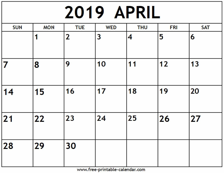 April 2019 Calendar – Free Printable Calendar Calendar 2019 April Printable