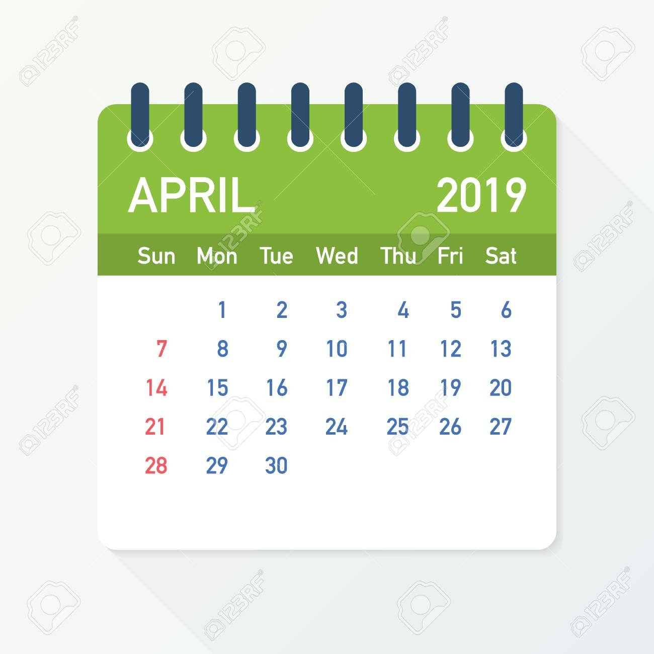 April 2019 Calendar Leaf. Calendar 2019 In Flat Style. Vector April 5 2019 Calendar