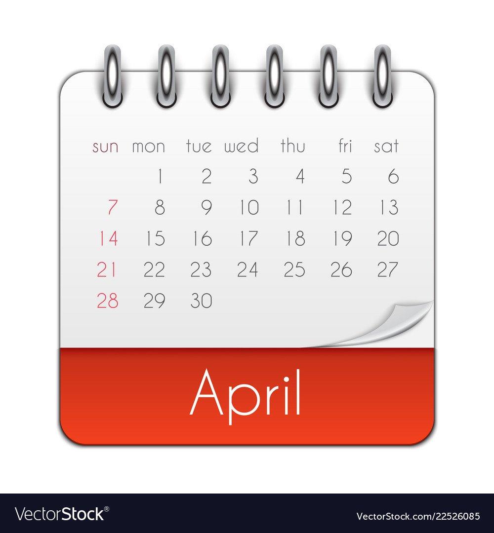 April 2019 Calendar Leaf Template Royalty Free Vector Image April 8 2019 Calendar