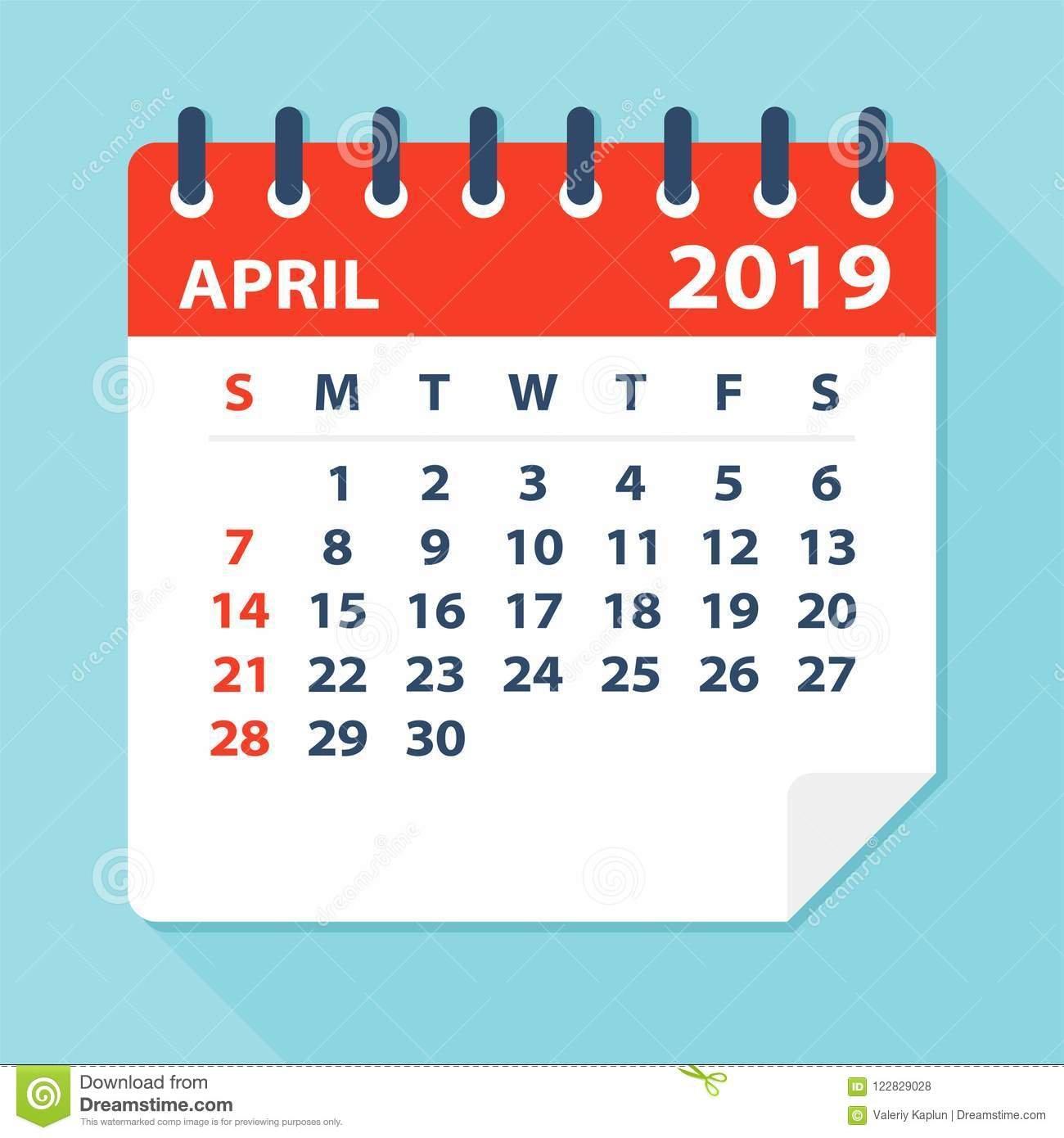 April 2019 Calendar Leaf – Vector Illustration Stock Illustration April 7 2019 Calendar
