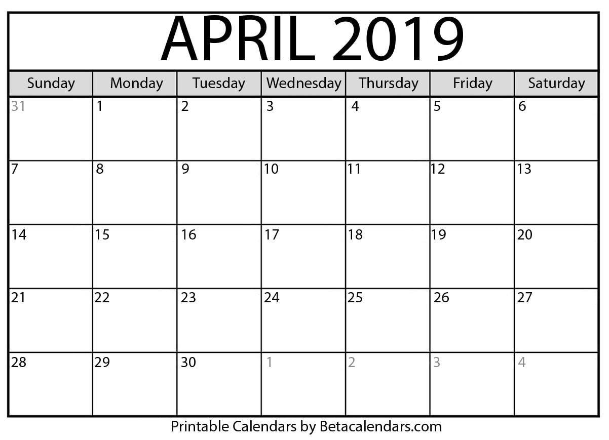April 2019 Calendar – Mateo Pedersen – Medium Show A 2019 Calendar