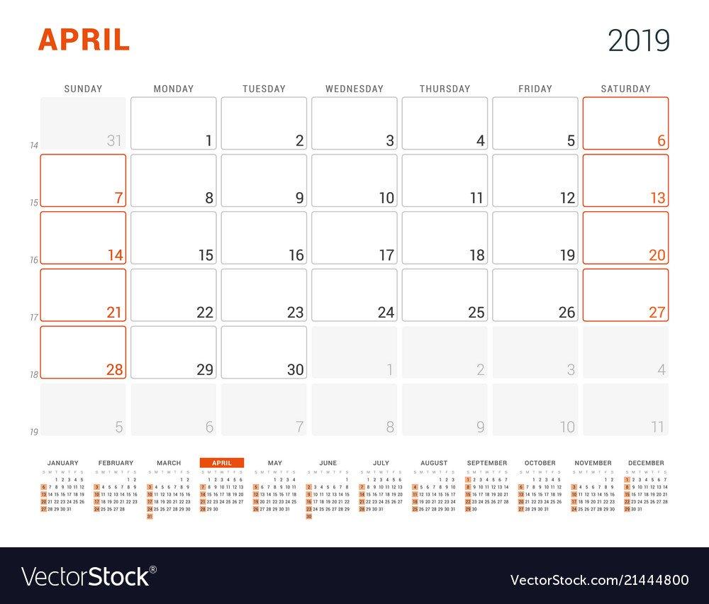 April 2019 Calendar Planner For 2019 Year Design Vector Image Calendar 2019 Planner