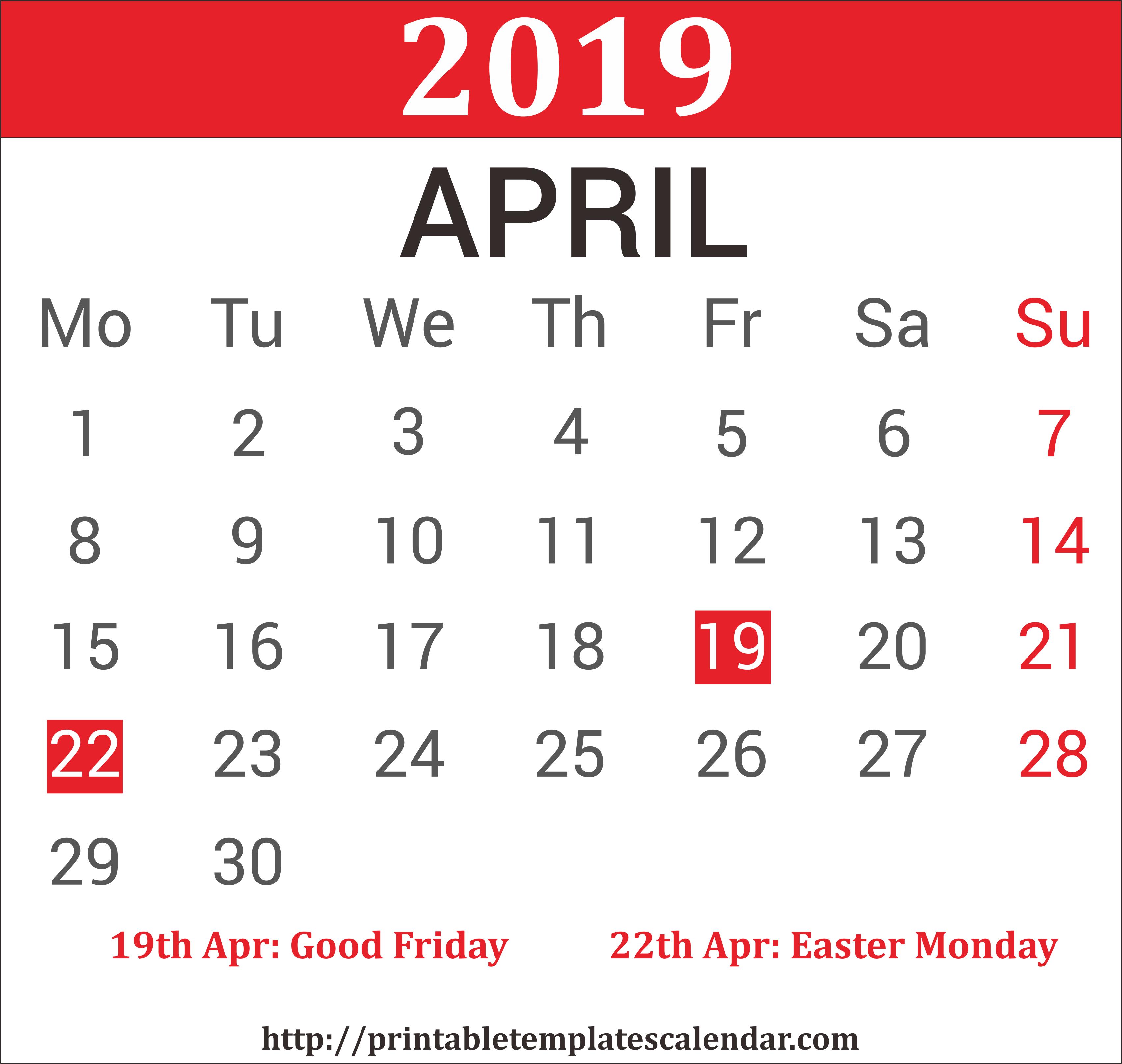 April 2019 Calendar Printable [Free] | Site Provides Calendar April 8 2019 Calendar