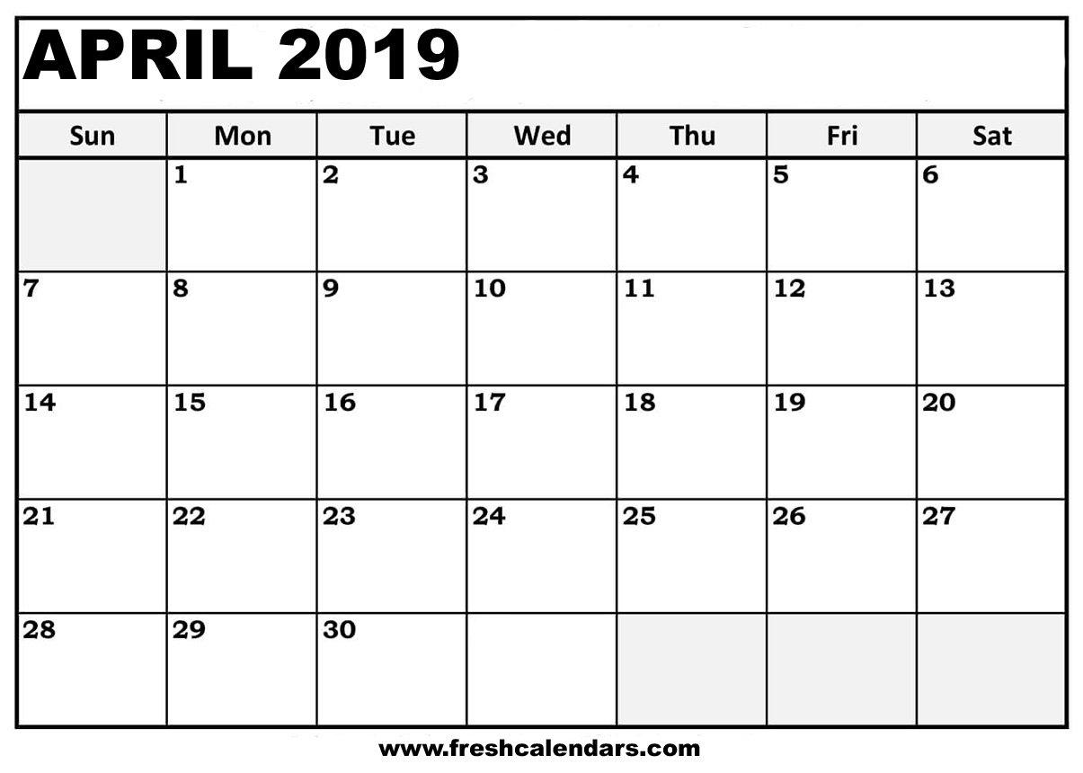 April 2019 Calendar Printable – Fresh Calendars Calendar 2019 April