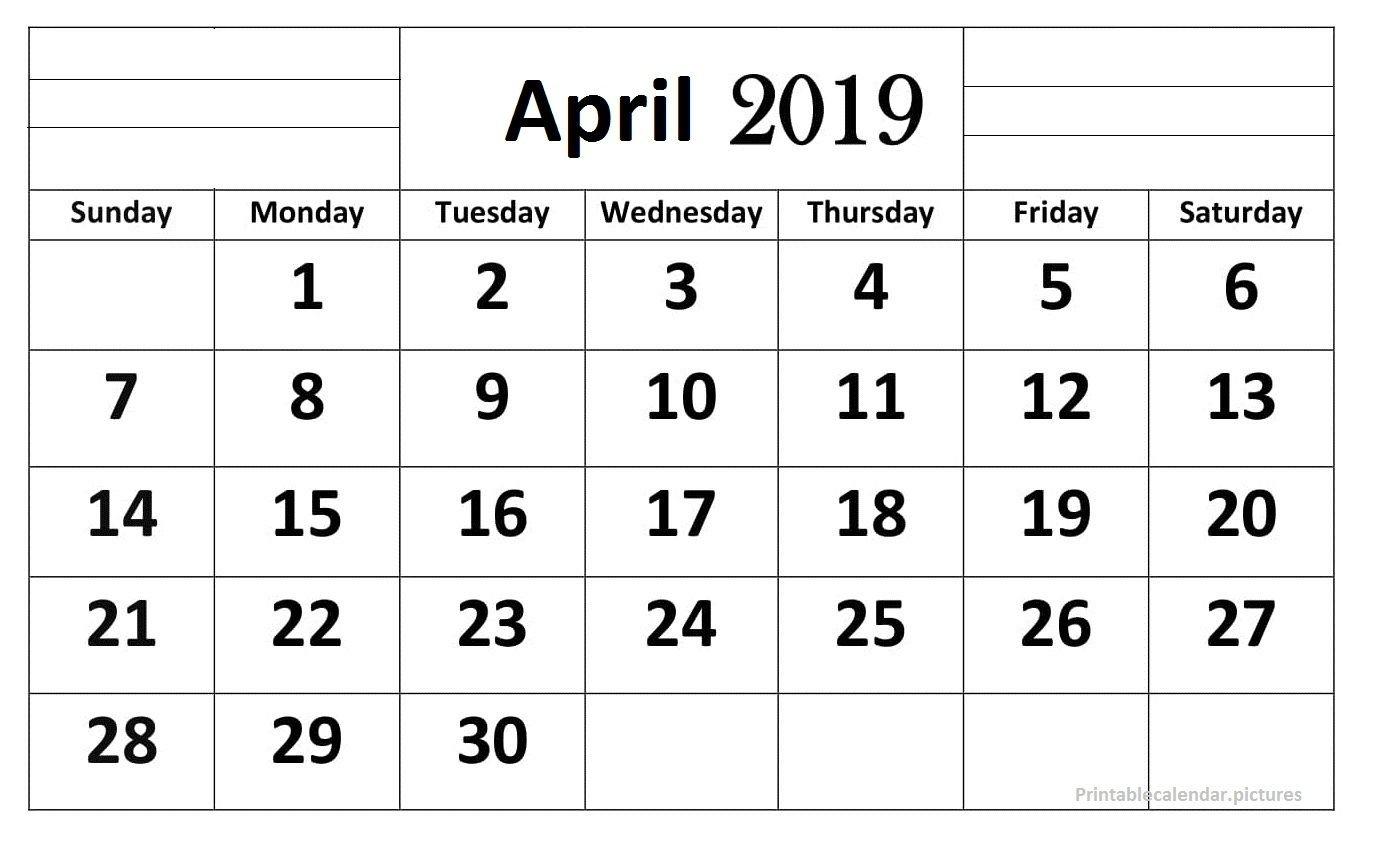 April 2019 Calendar Printable Large Print   April 2019 Calendar April 1 2019 Calendar