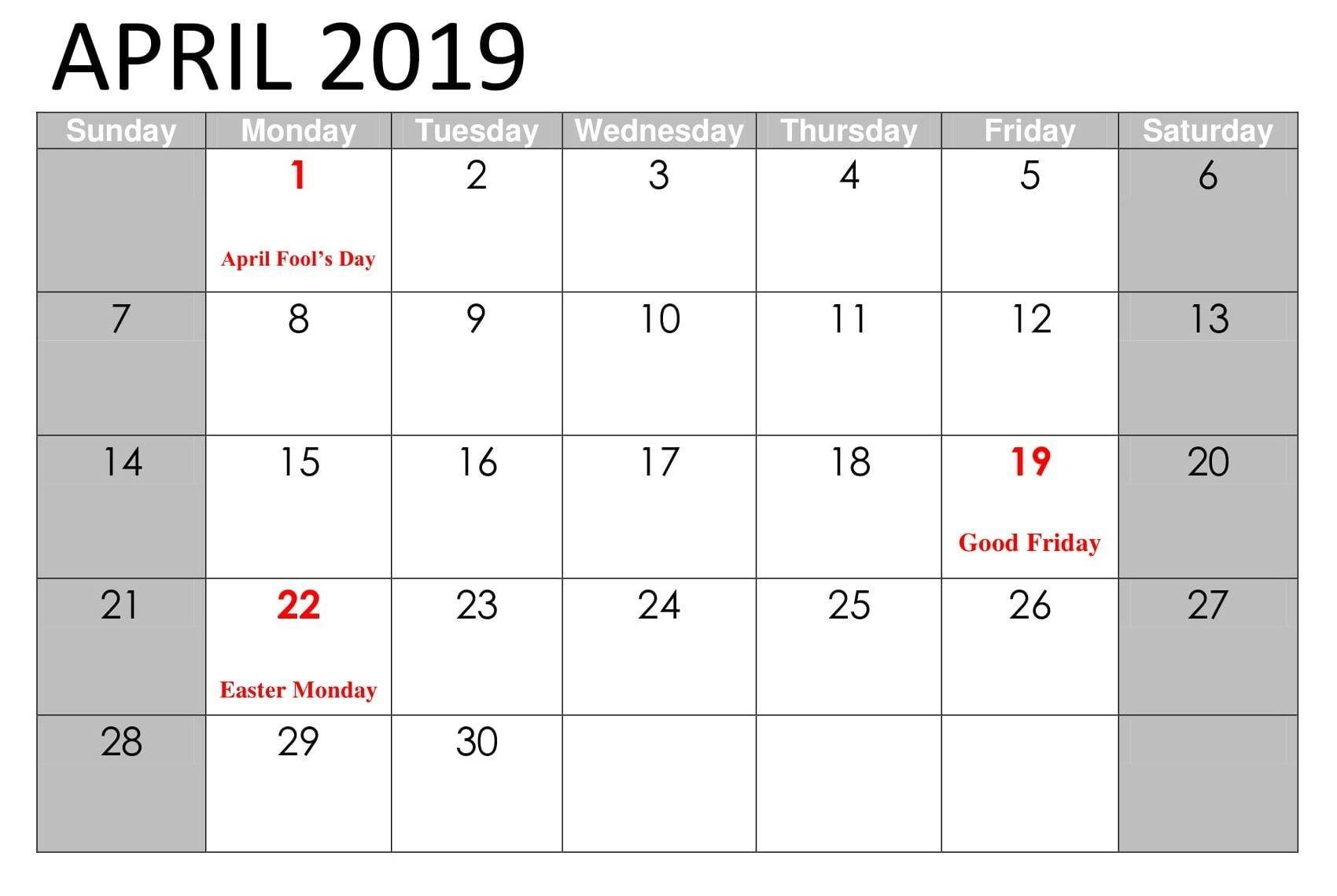 April 2019 Calendar Printable With Holidays | April 2019 Calendar Calendar 2019 Events And Holidays