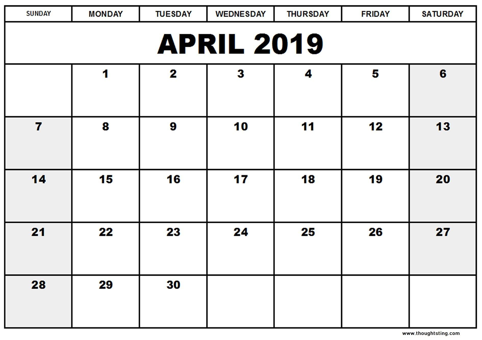 April 2019 Calendar Template Word, Excel, Pdf – Free Printable Calendar 2019 Template Pdf