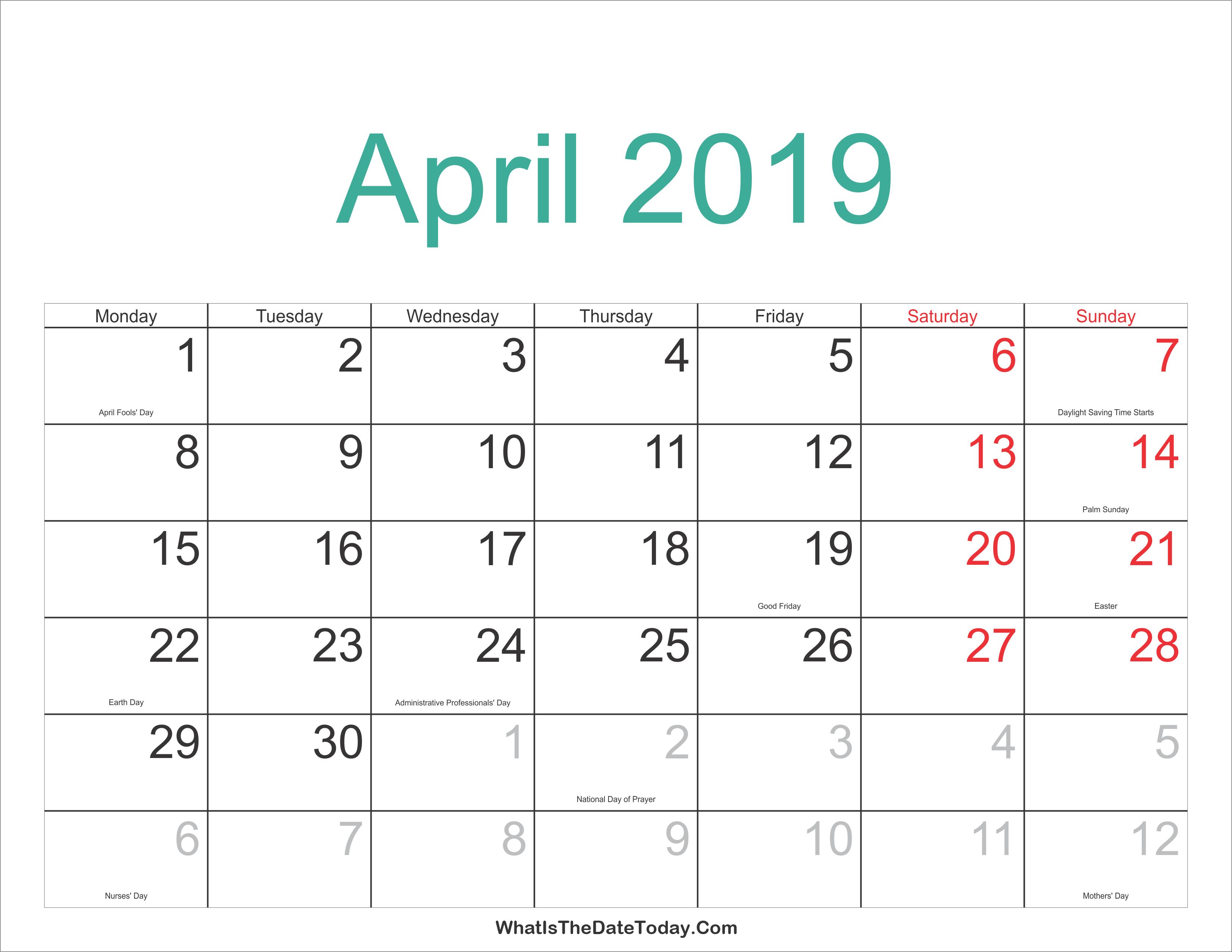 April 2019 Calendar With Holidays Us   April 2019 Calendar Printable Calendar 2019 Easter