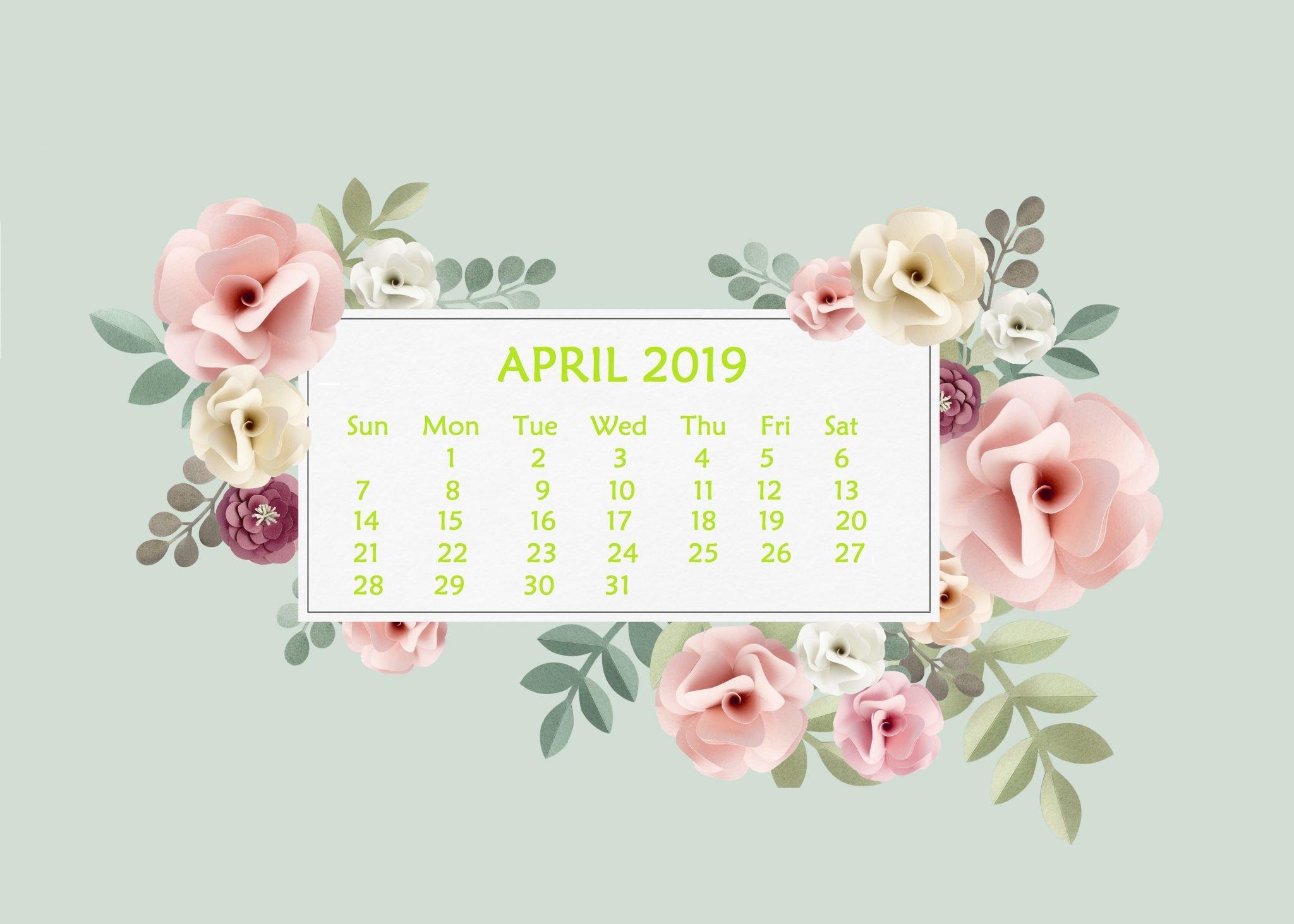 April 2019 Desktop Wallpaper With Calendar – April 2019 Calendar Calendar 2019 On Computer