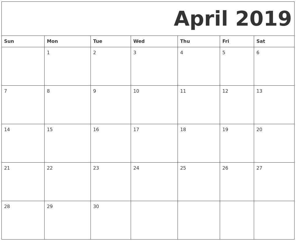 April 2019 Free Printable Calendar Calendar 2019 April Printable